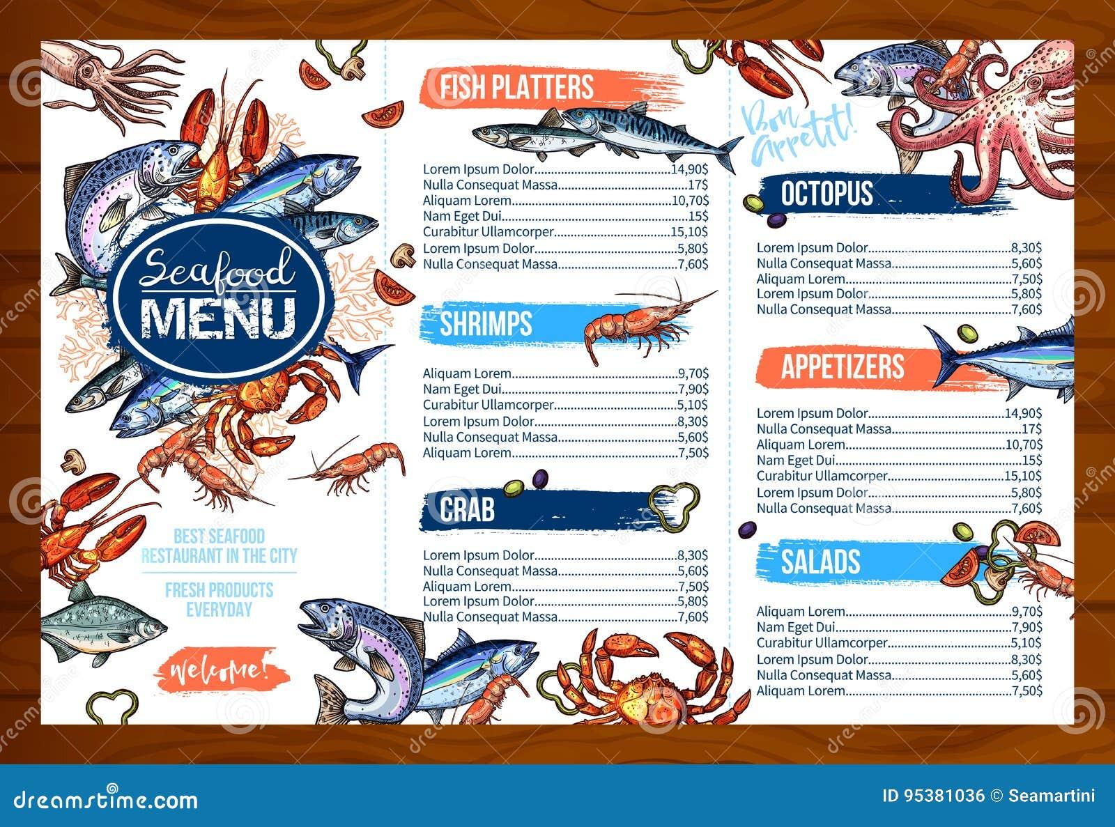 The Big Fish Restaurant Menu