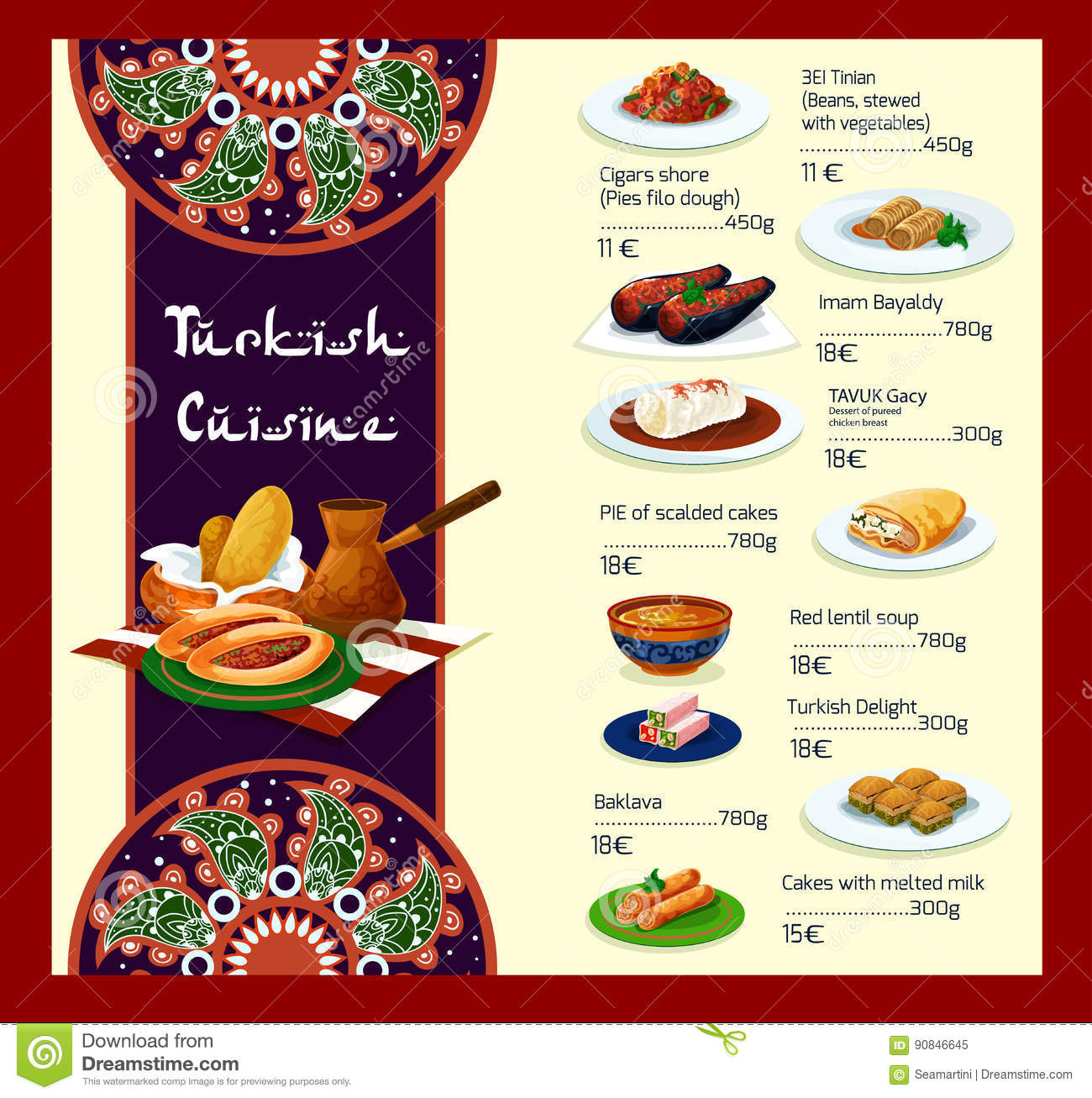 Vector menu template of turkish cuisine restaurant stock for Cuisine restaurant