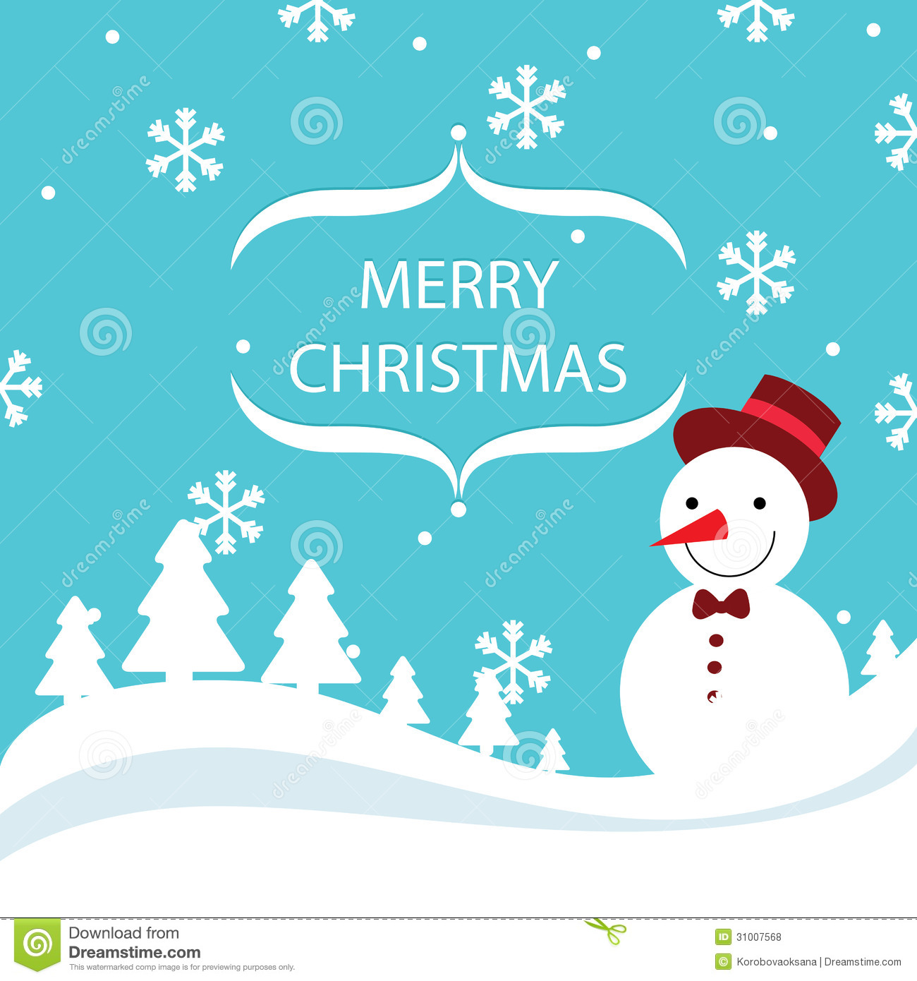 Vector Merry Christmas Card. December, Illustration.