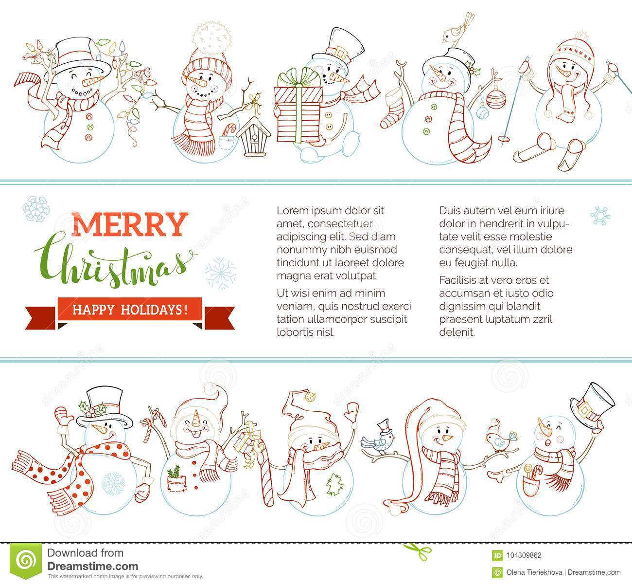 vector merry christmas and happy new year background with cute snowmen