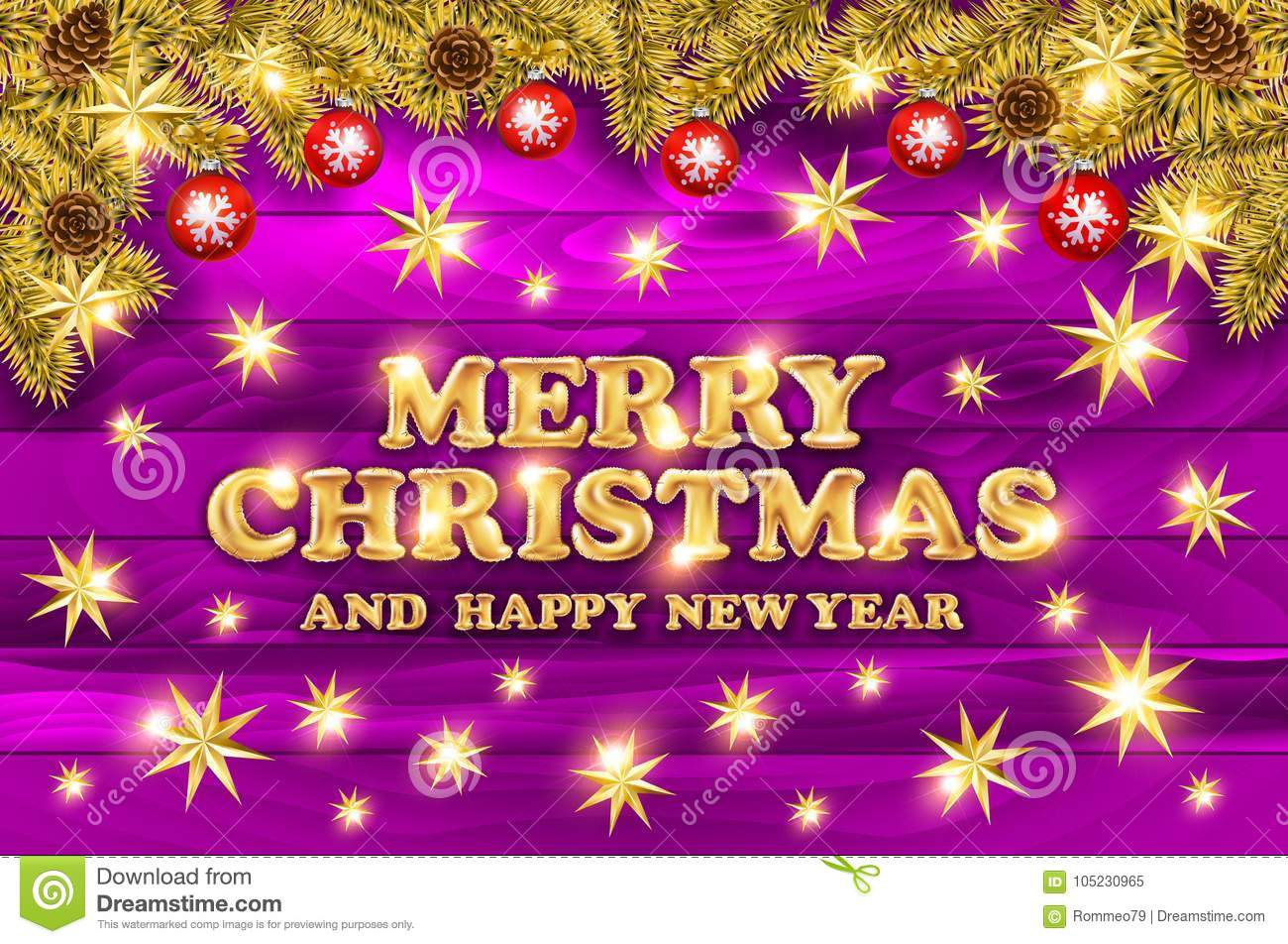 Vector Merry Christmas And Happy New Year Greeting Card With Gold