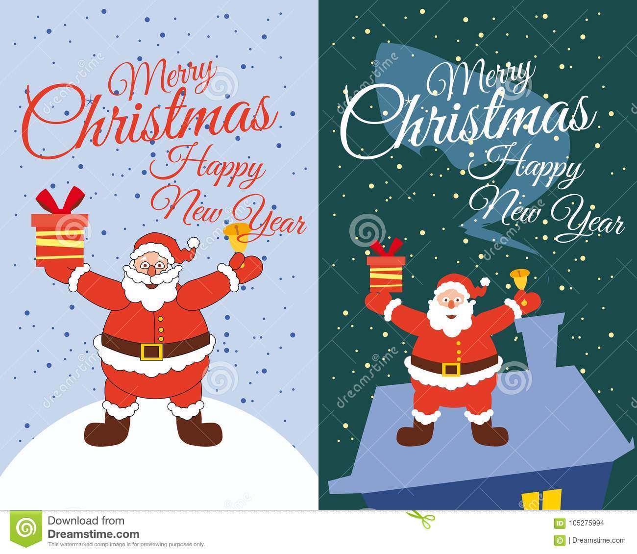 vector merry christmas and happy new year greeting card set with cute santa claus and gifts