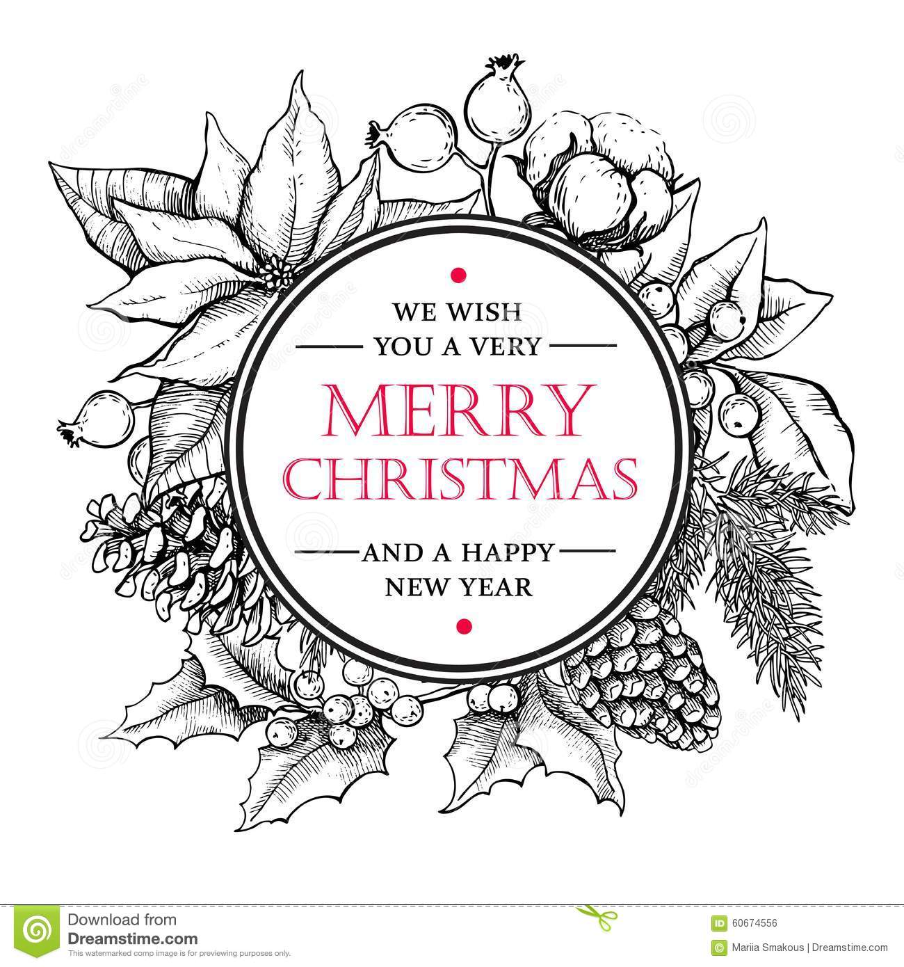 vector merry christmas and happy new year hand drawn vintage ill