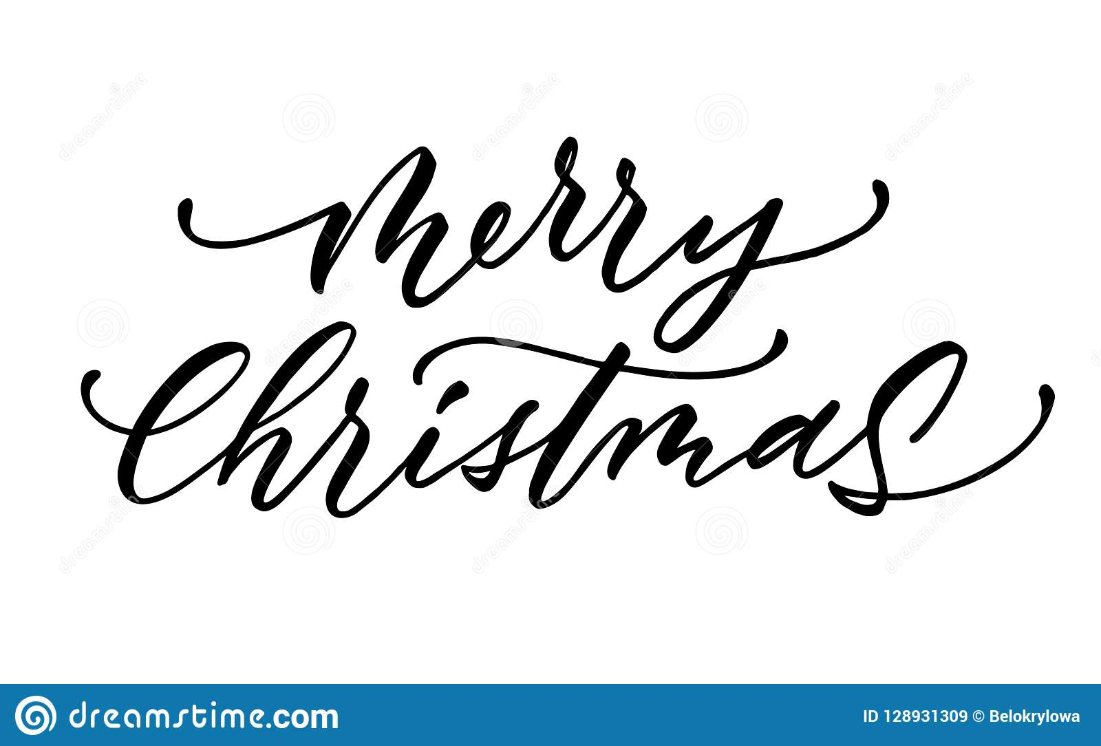 Merry Christmas Lettering.Vector Merry Christmas Lettering Script Ink Sign Stock