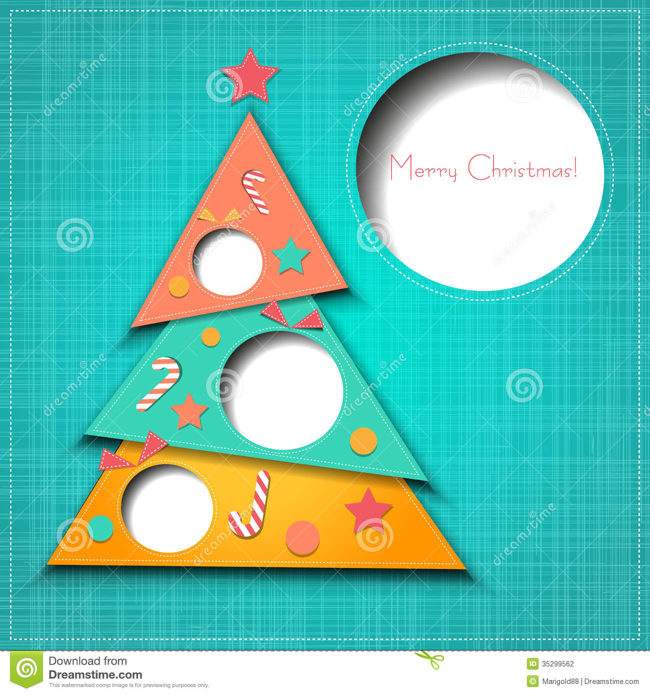 Vector Merry Christmas Paper Greeting Card Stock Vector ...
