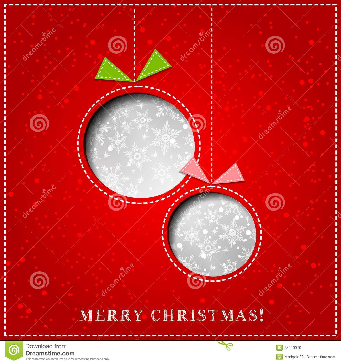 Vector Merry Christmas Paper Greeting Card Stock