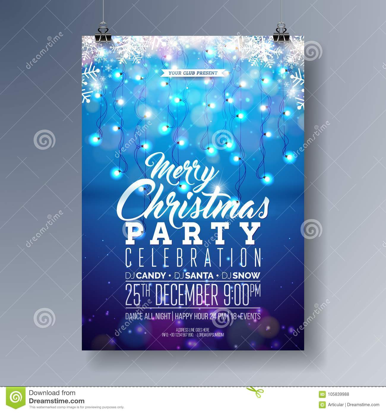 vector merry christmas party flyer design with holiday