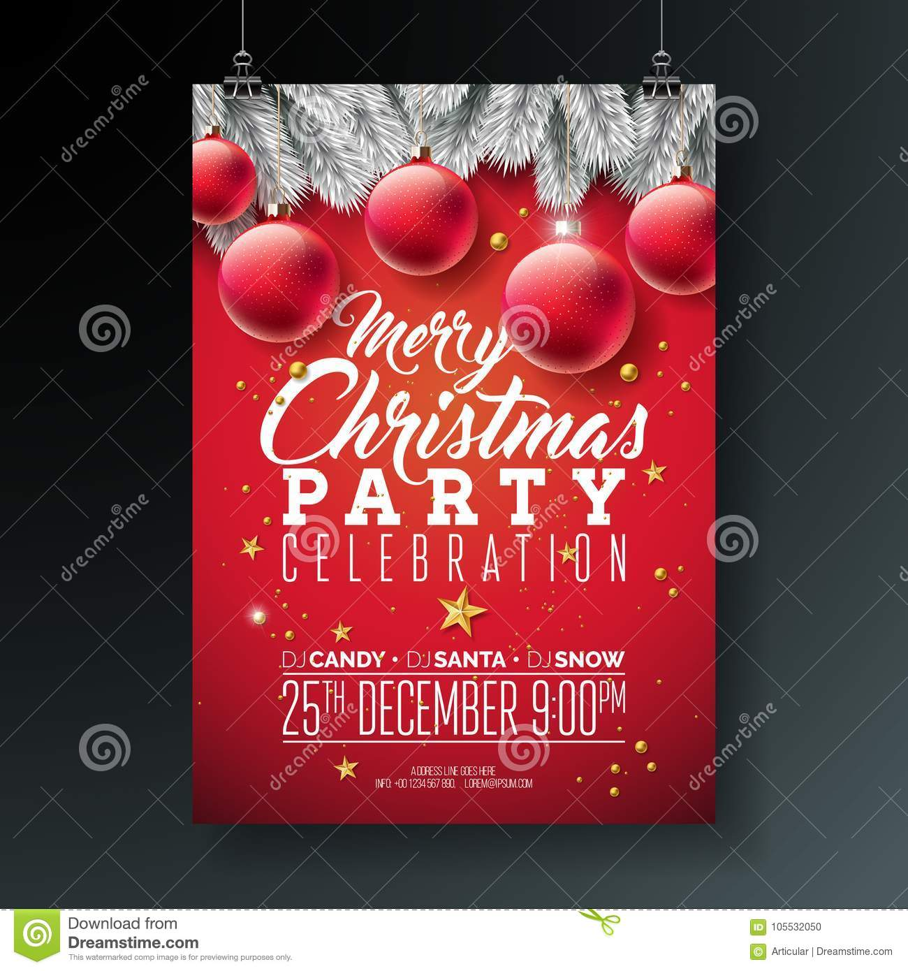 vector merry christmas party flyer illustration with typography and