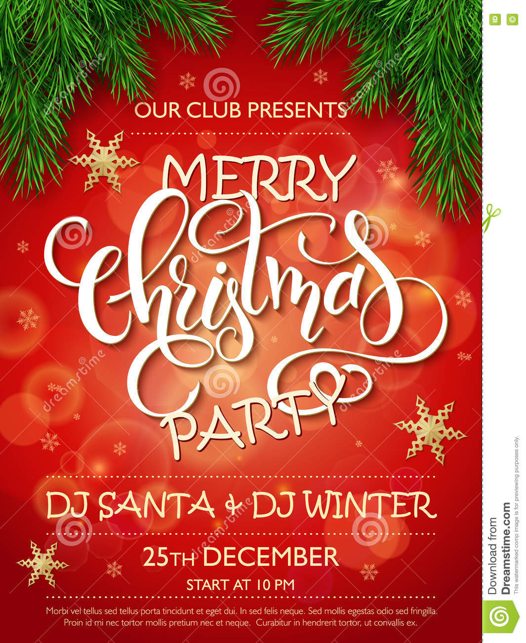 Vector merry christmas party poster with christmas fir tree branches vector merry christmas party poster with christmas fir tree branches golden stars m4hsunfo