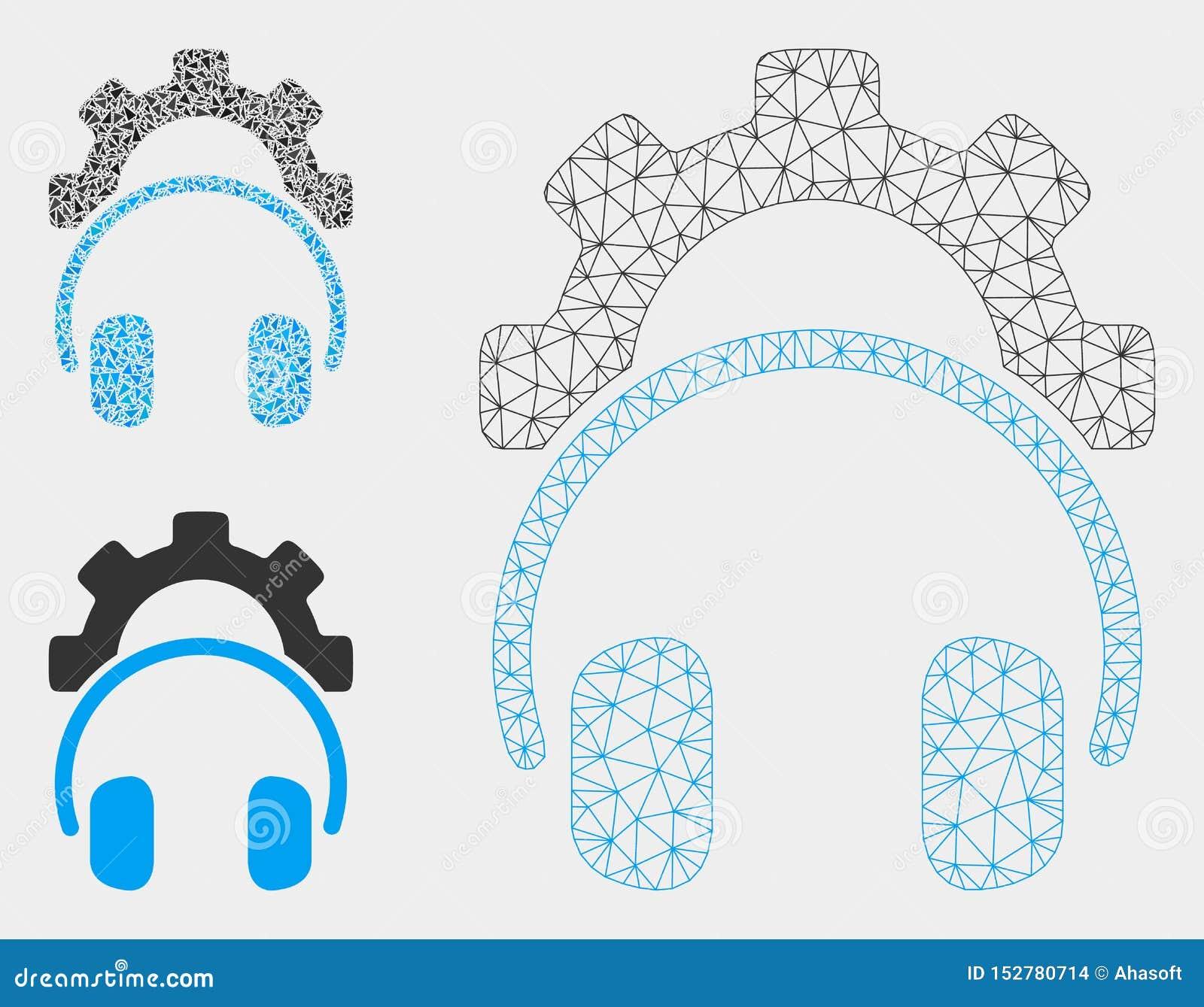Vector Mesh Carcass Model del engranaje de la configuración de los auriculares e icono del mosaico del triángulo