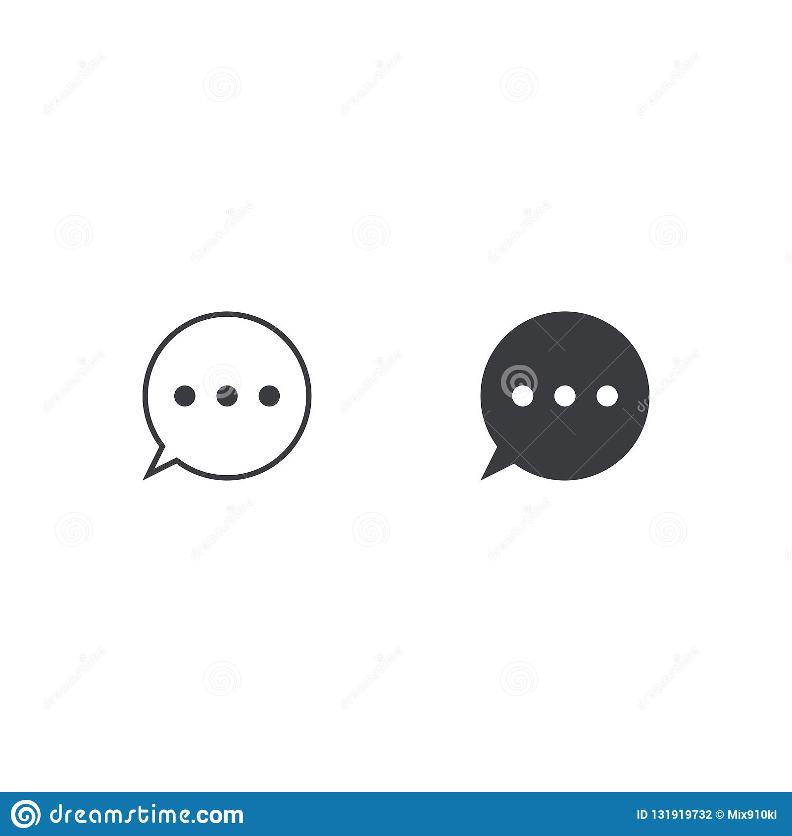 Vector Message Icon  Two Circle Speech Bubble  Element For