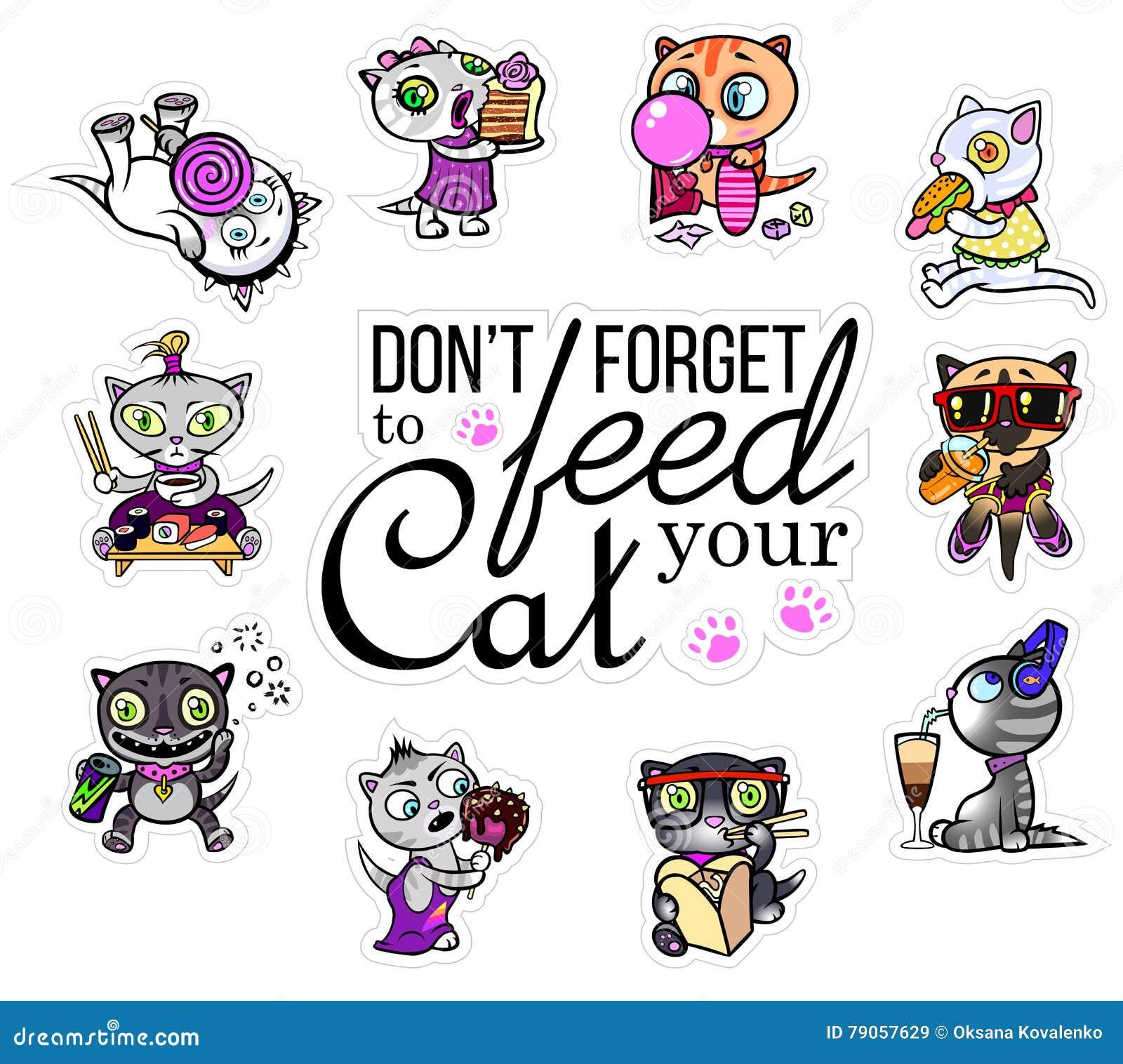 Vector met kattenstickers die wordt geplaatst Hongerige huisdieren Emoji voor praatjes