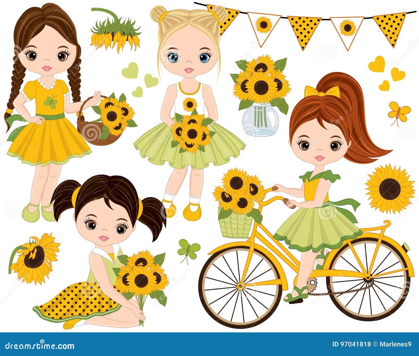 Vector met Leuke Meisjes, Fiets met Zonnebloemen wordt geplaatst die