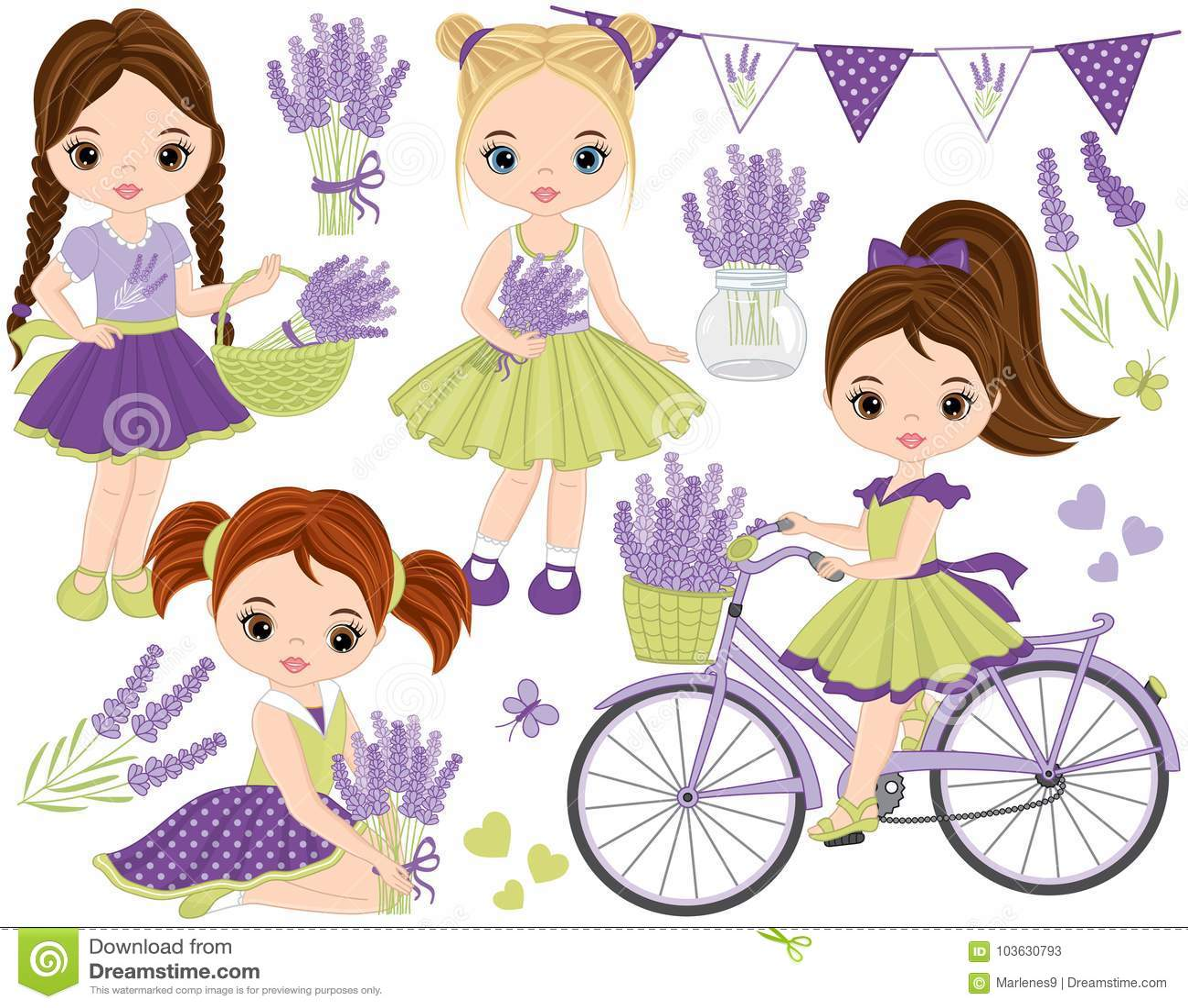 Vector met Leuke Meisjes, Lavendel, Fiets die en Bunting wordt geplaatst