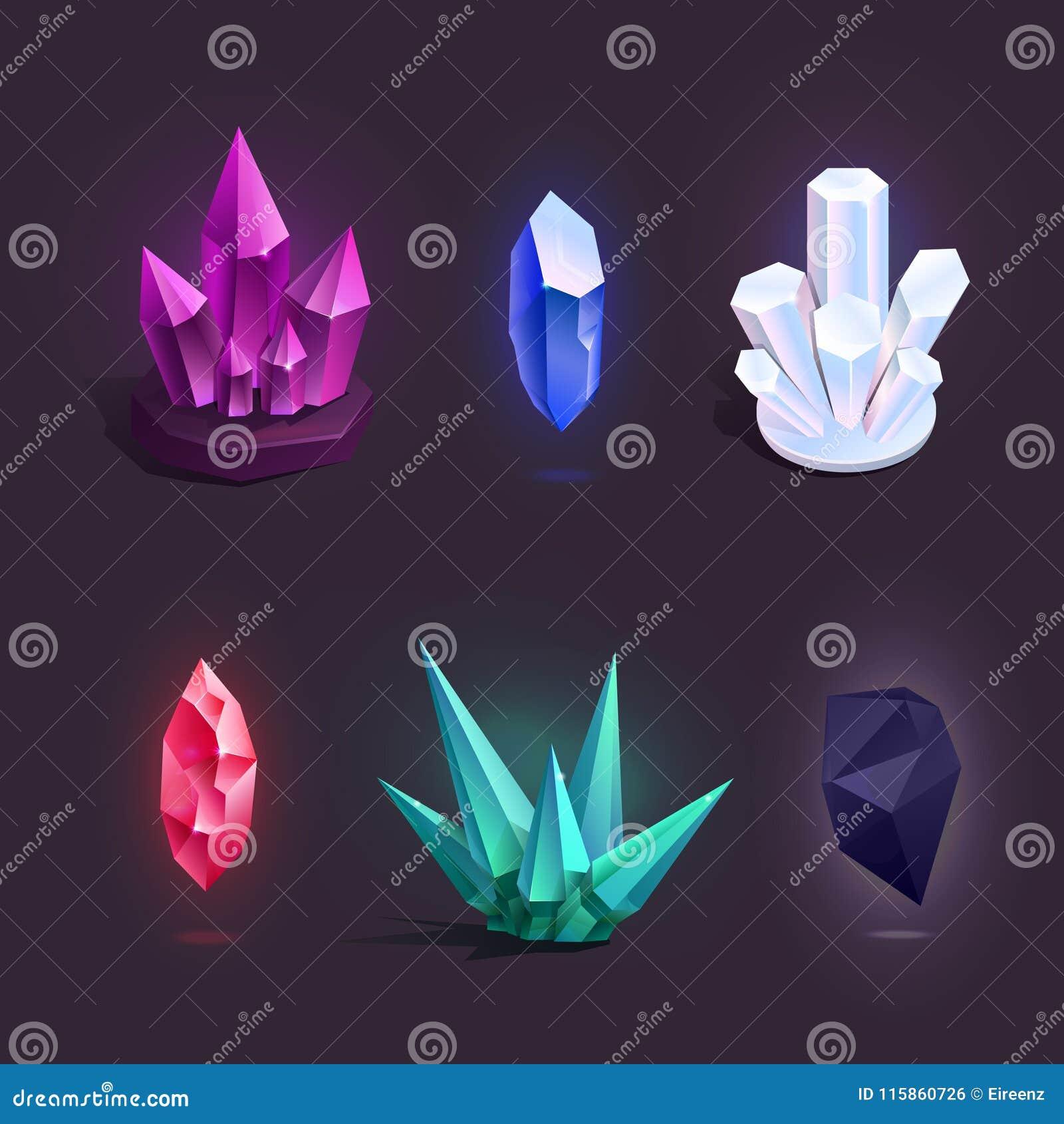 Vector met verschillende kleurrijke beeldverhaalkristallen dat wordt geplaatst