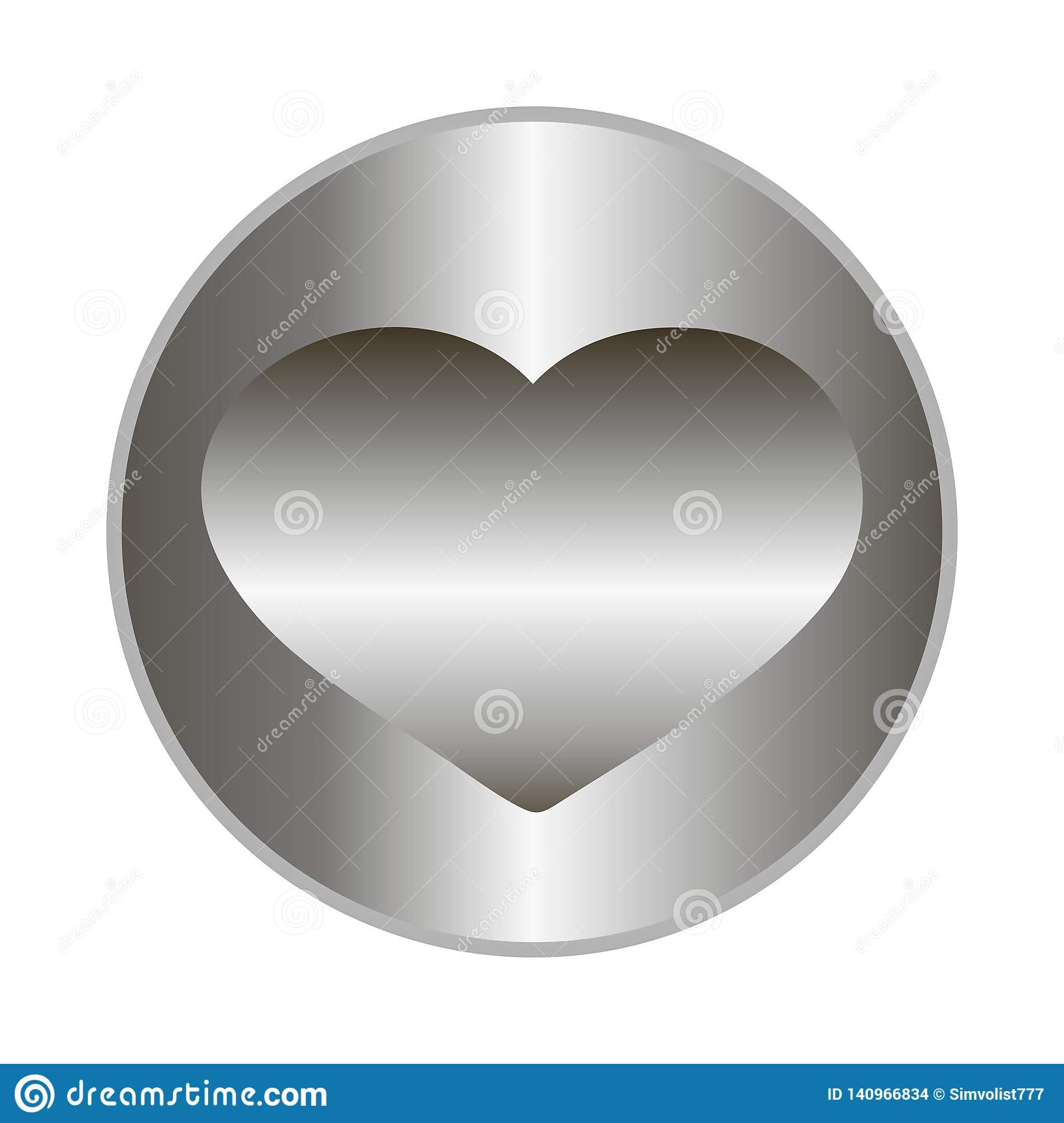 Metal medal with heart. Abstract circle geometric badge, technology button template with metal texture, chrome, silver, steel.
