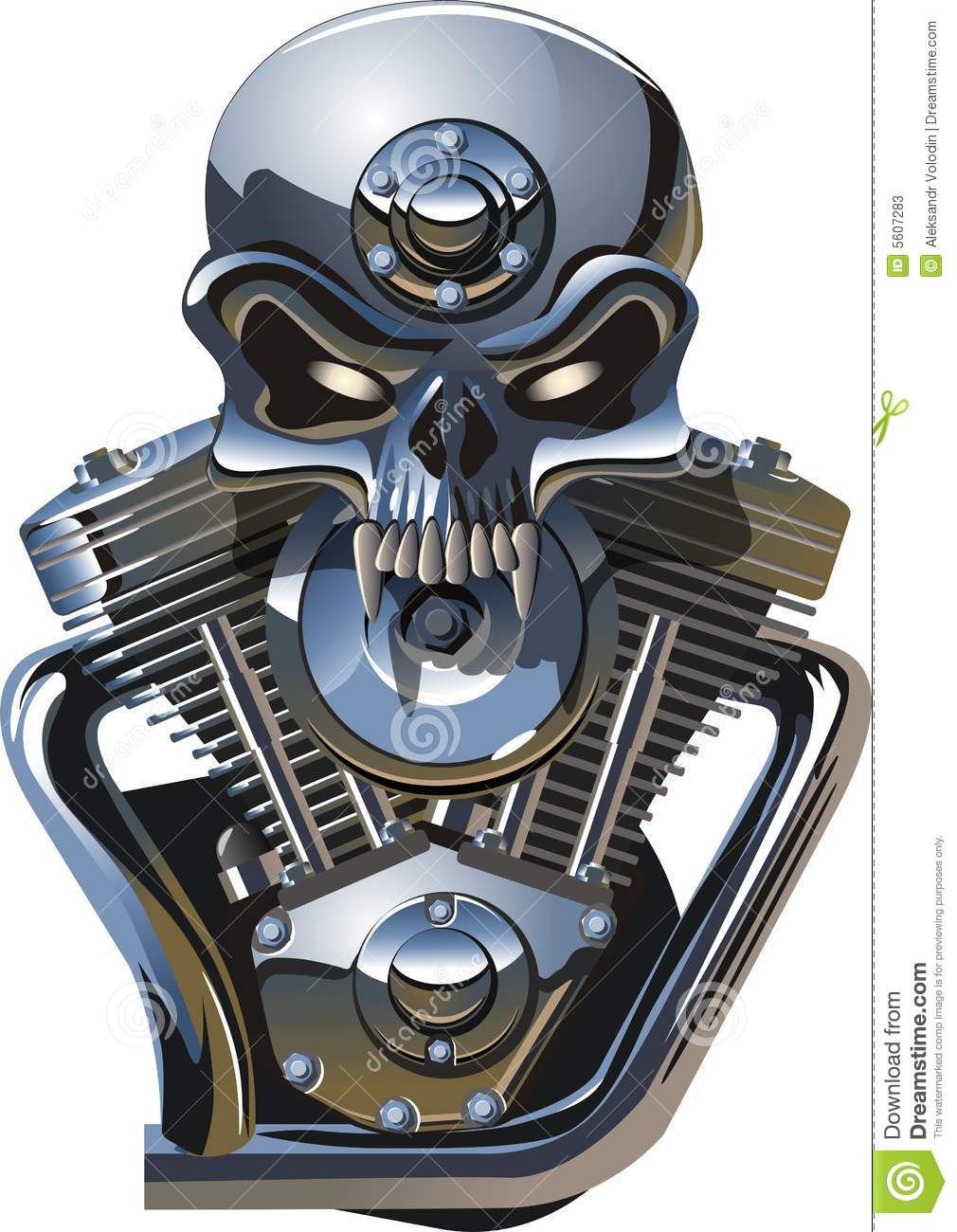 Vector Metall Skull With Engine Stock Photos - Image: 5607283