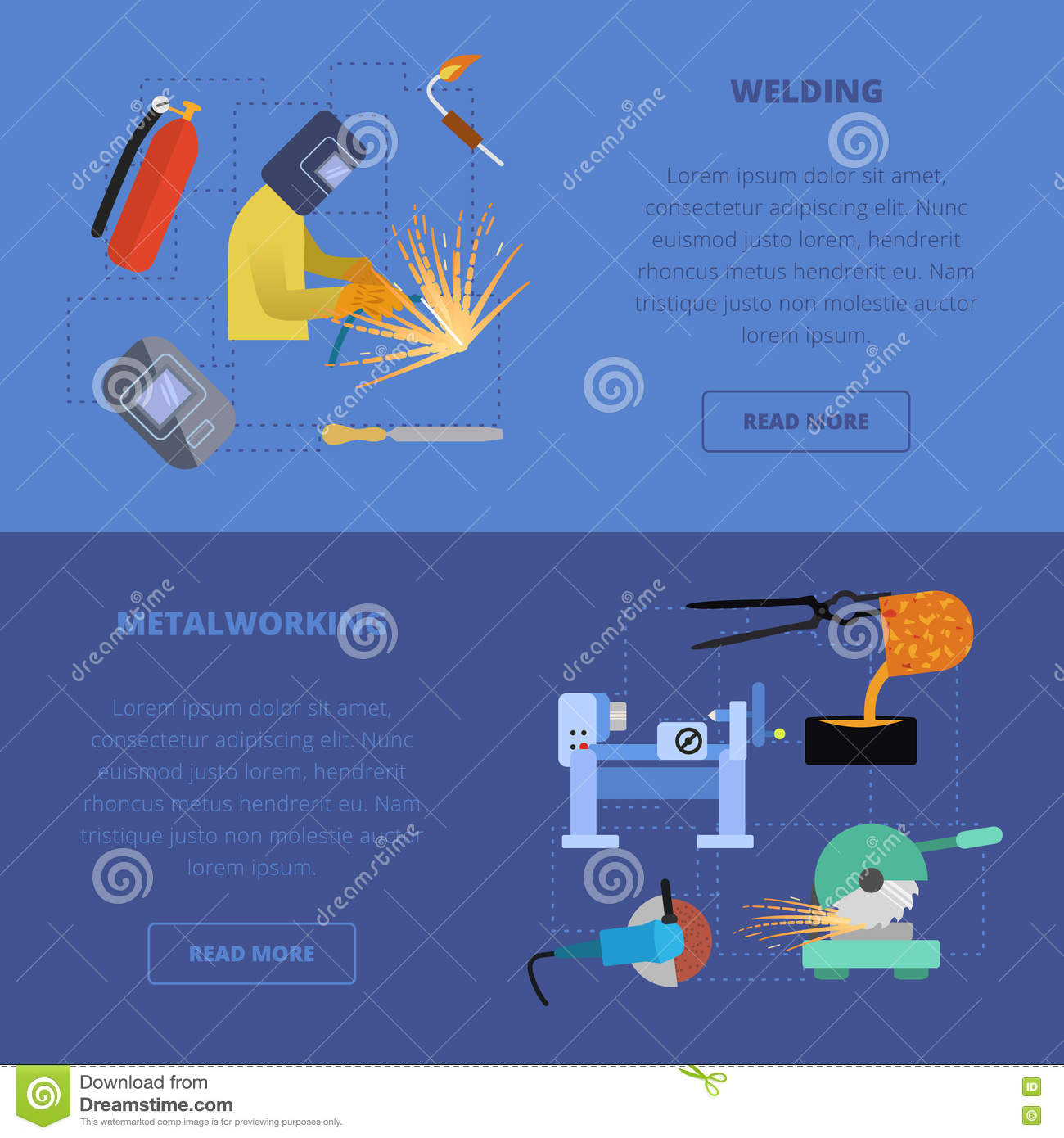 Vector Metalworking Concept Stock Illustration Of How To Read A Welding Diagram Icons Metal Lathe Work Cutting Grinding Casting