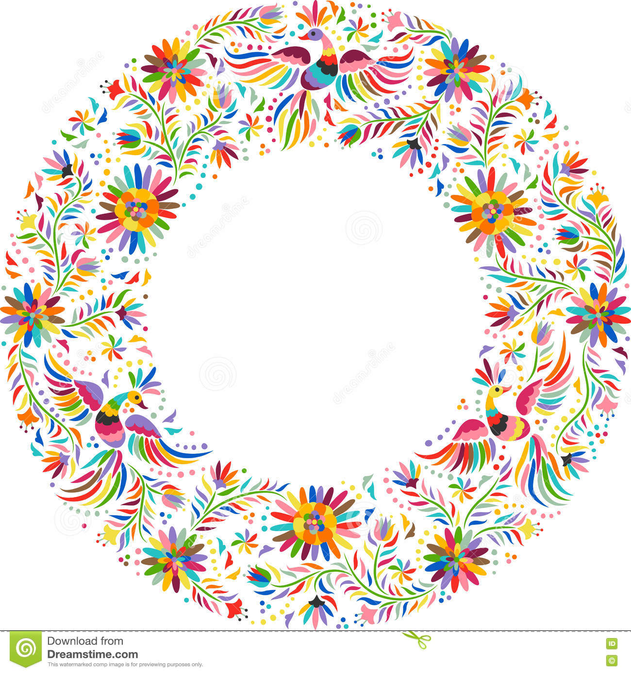vector mexican embroidery round frame pattern - Mexican Frame