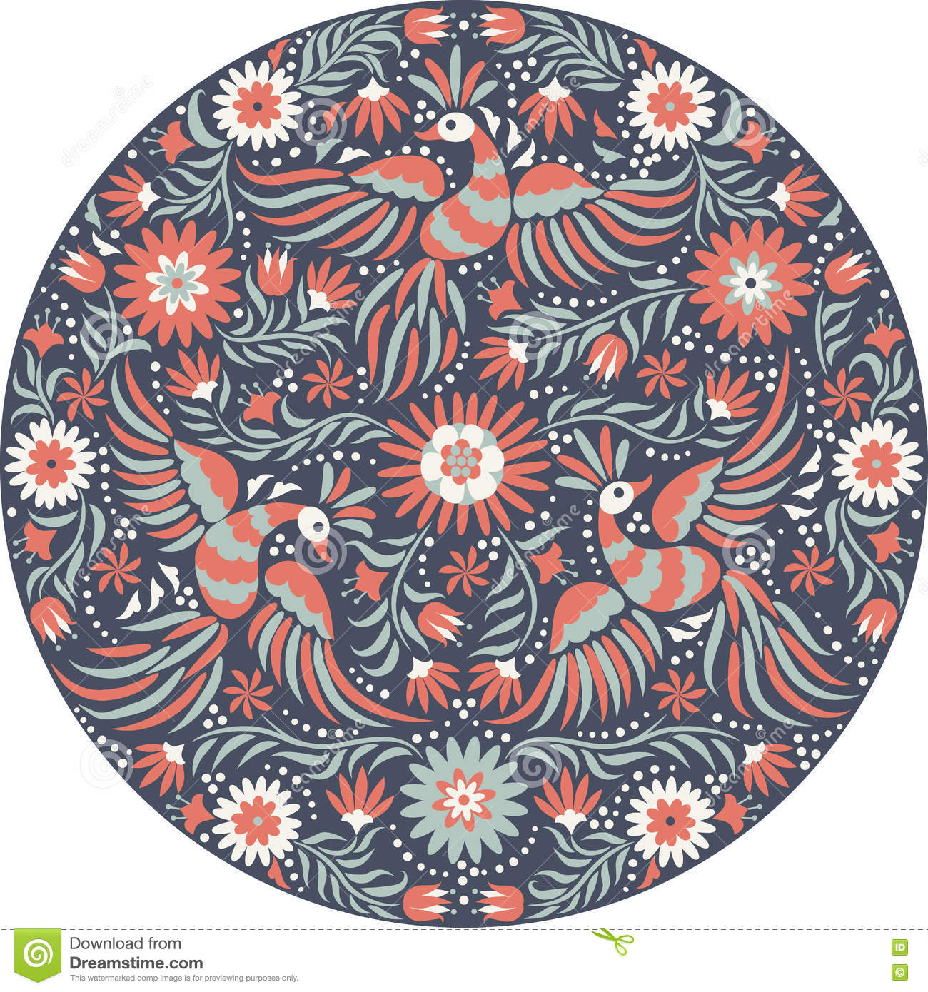Vector mexican embroidery round pattern stock