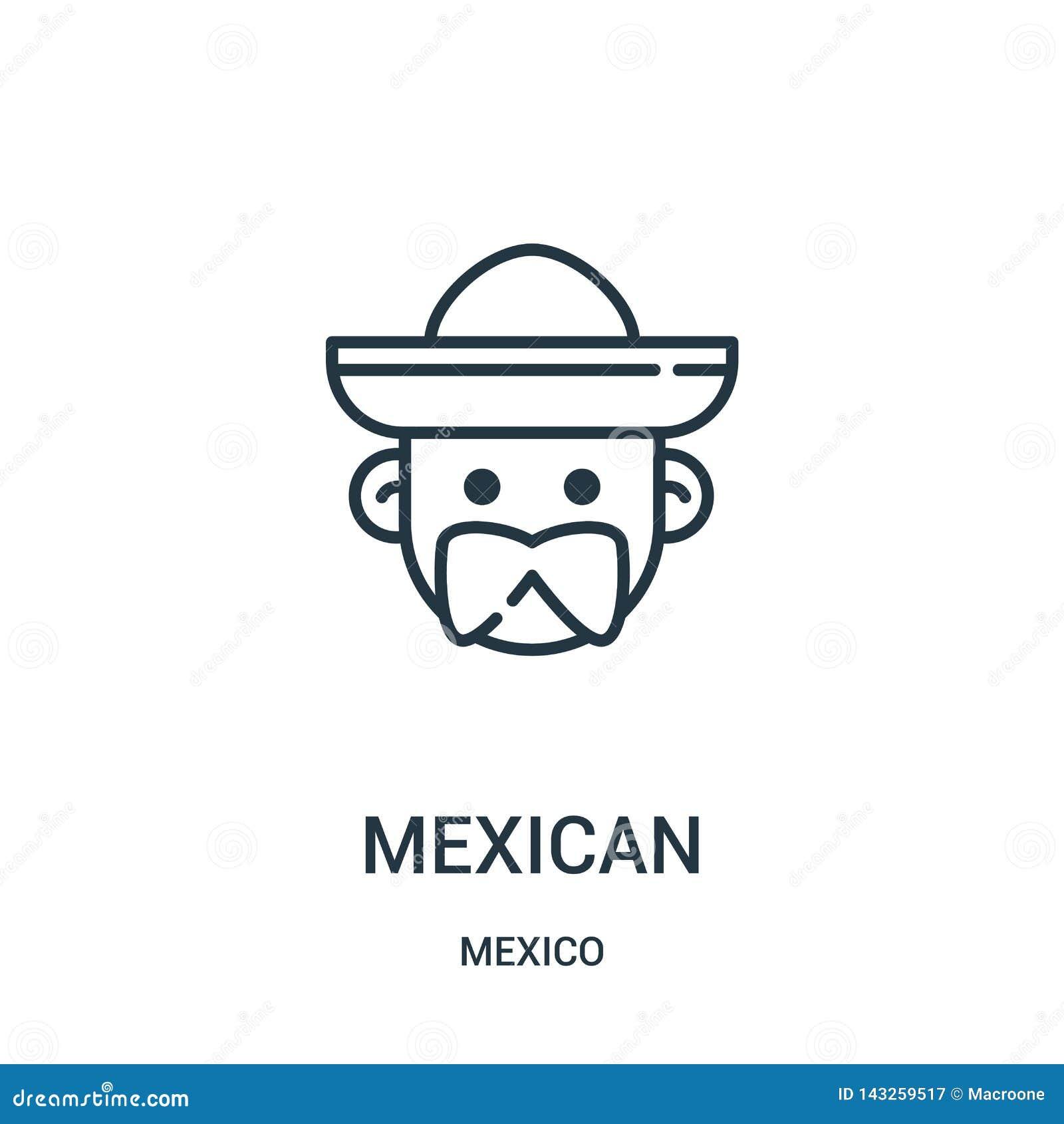 Vector mexicano del icono de la colección de México Línea fina ejemplo mexicano del vector del icono del esquema