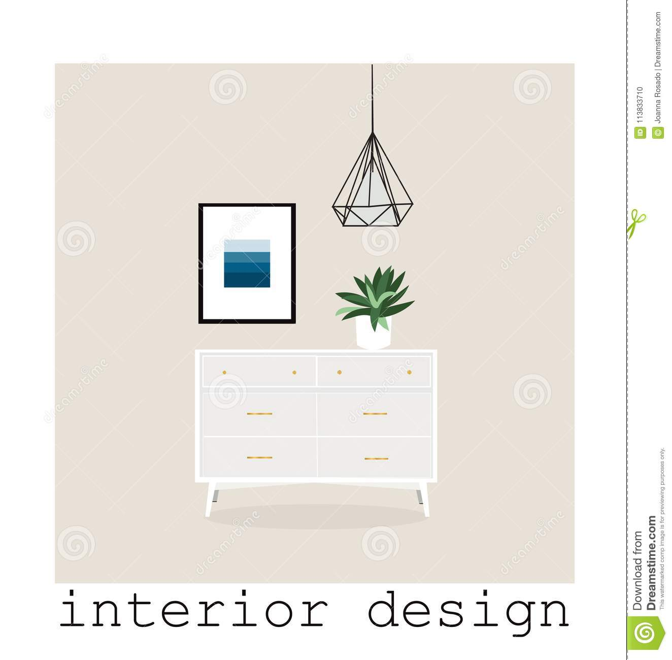 Mid Century Modern Furniture Set Collection Vector