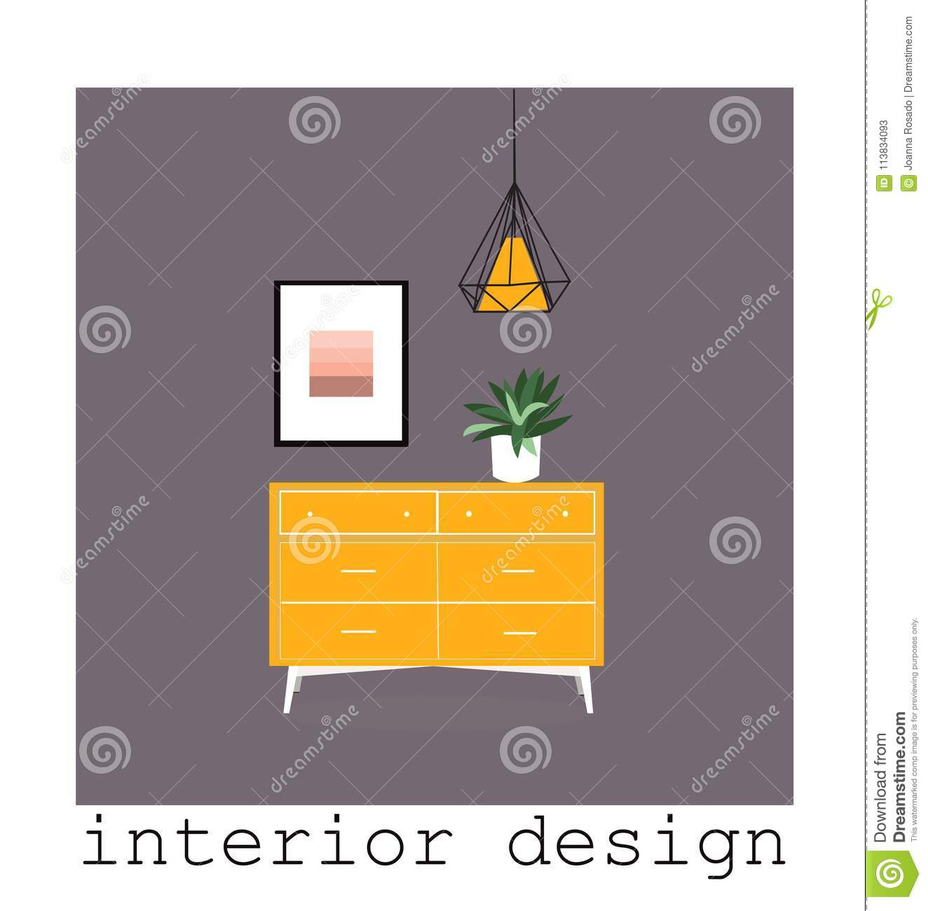 Mid Century Modern Furniture Set Collection.vector ...