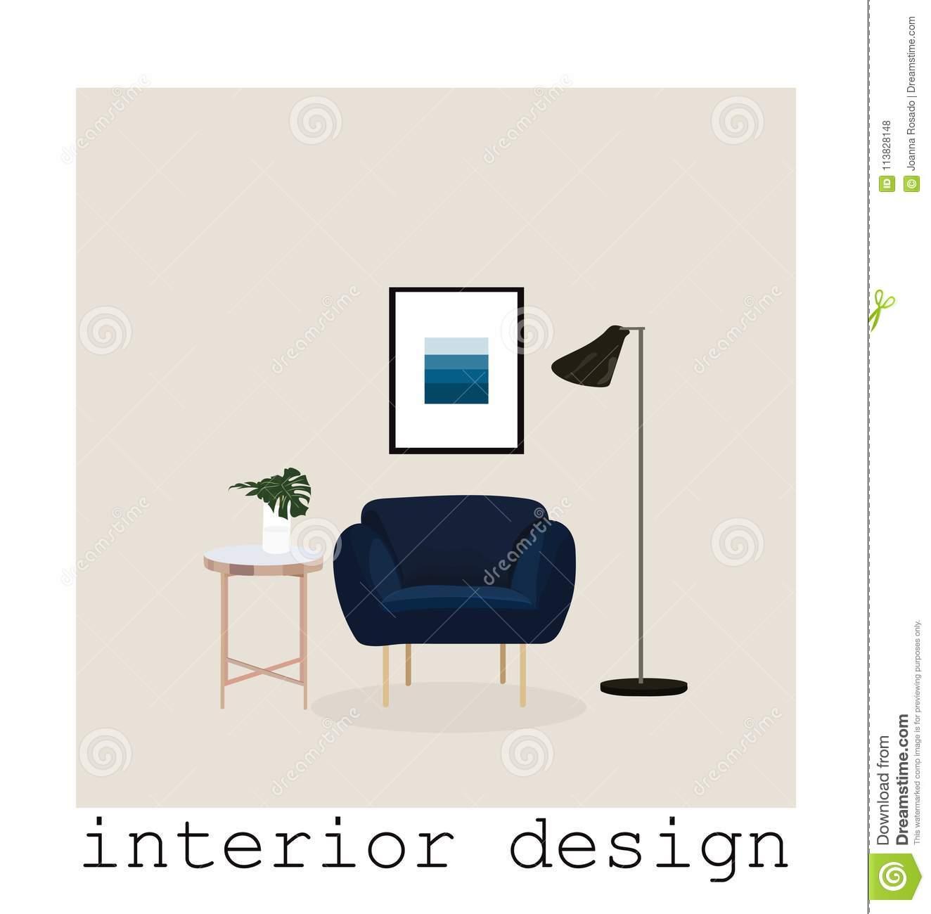 Download Mid Century Modern Furniture Set Collection.vector Illustration  1950 1960. Interior Design Drawing