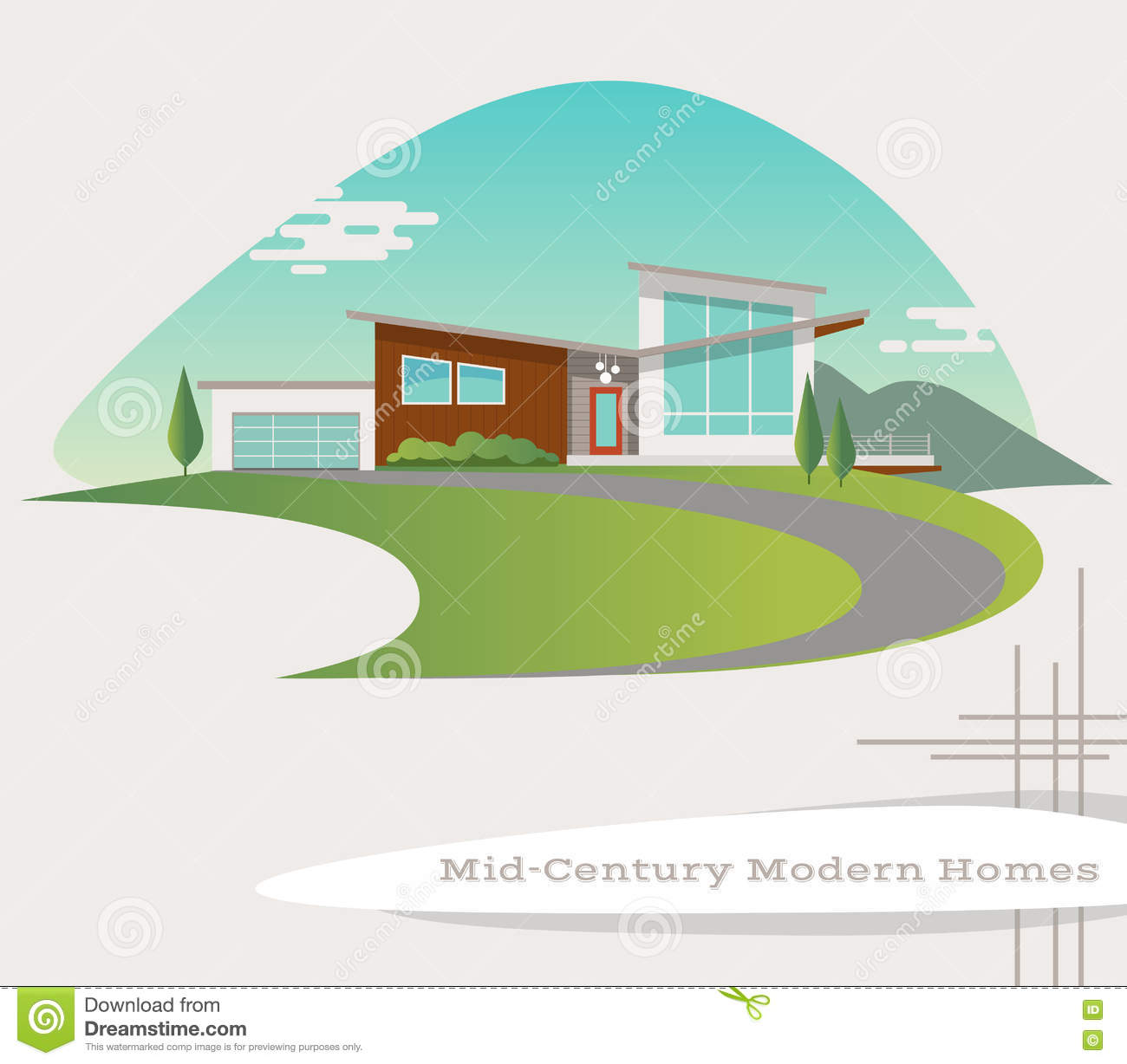 Vector Of Mid Century Modern Style House Stock Vector ...