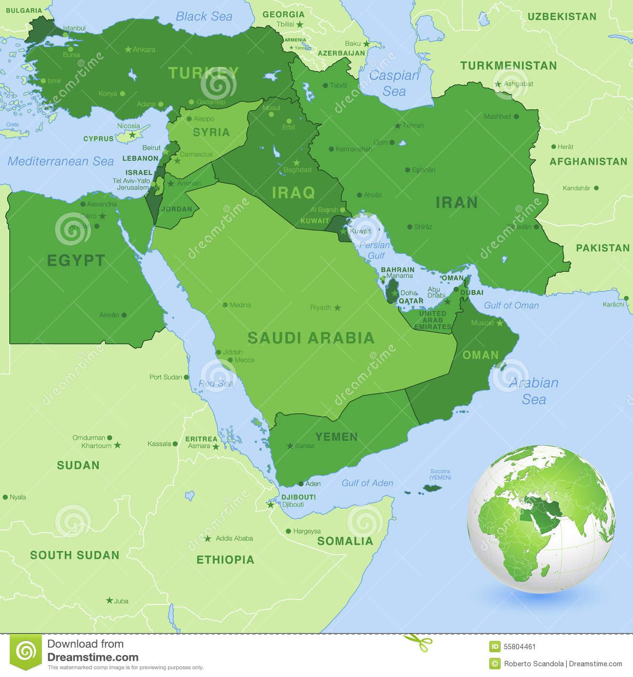 ... map of the Middle East Zone, with a 3D Globe centered on Middle East
