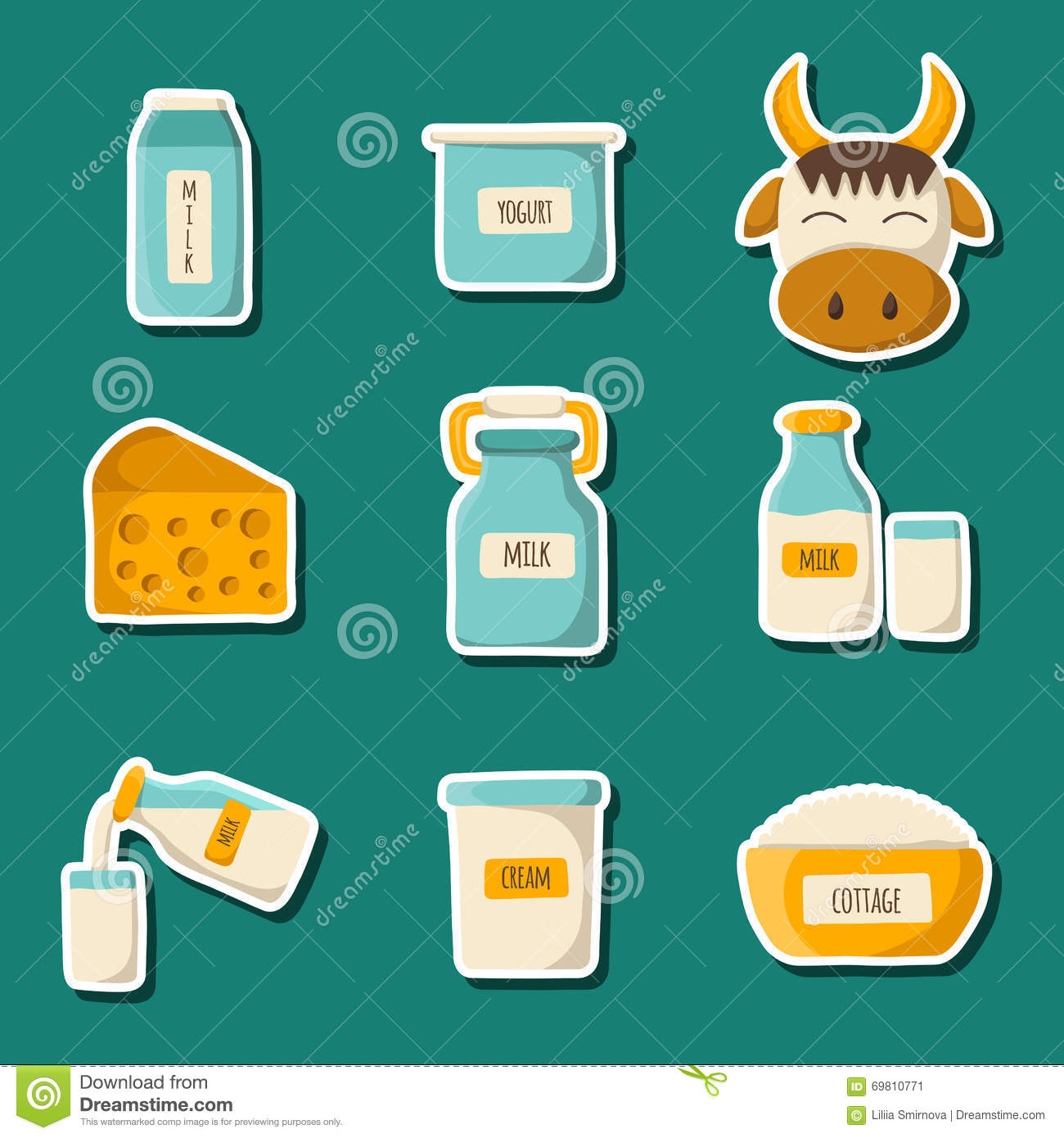Vector Milk Products Stock Illustration Image Of Allergic