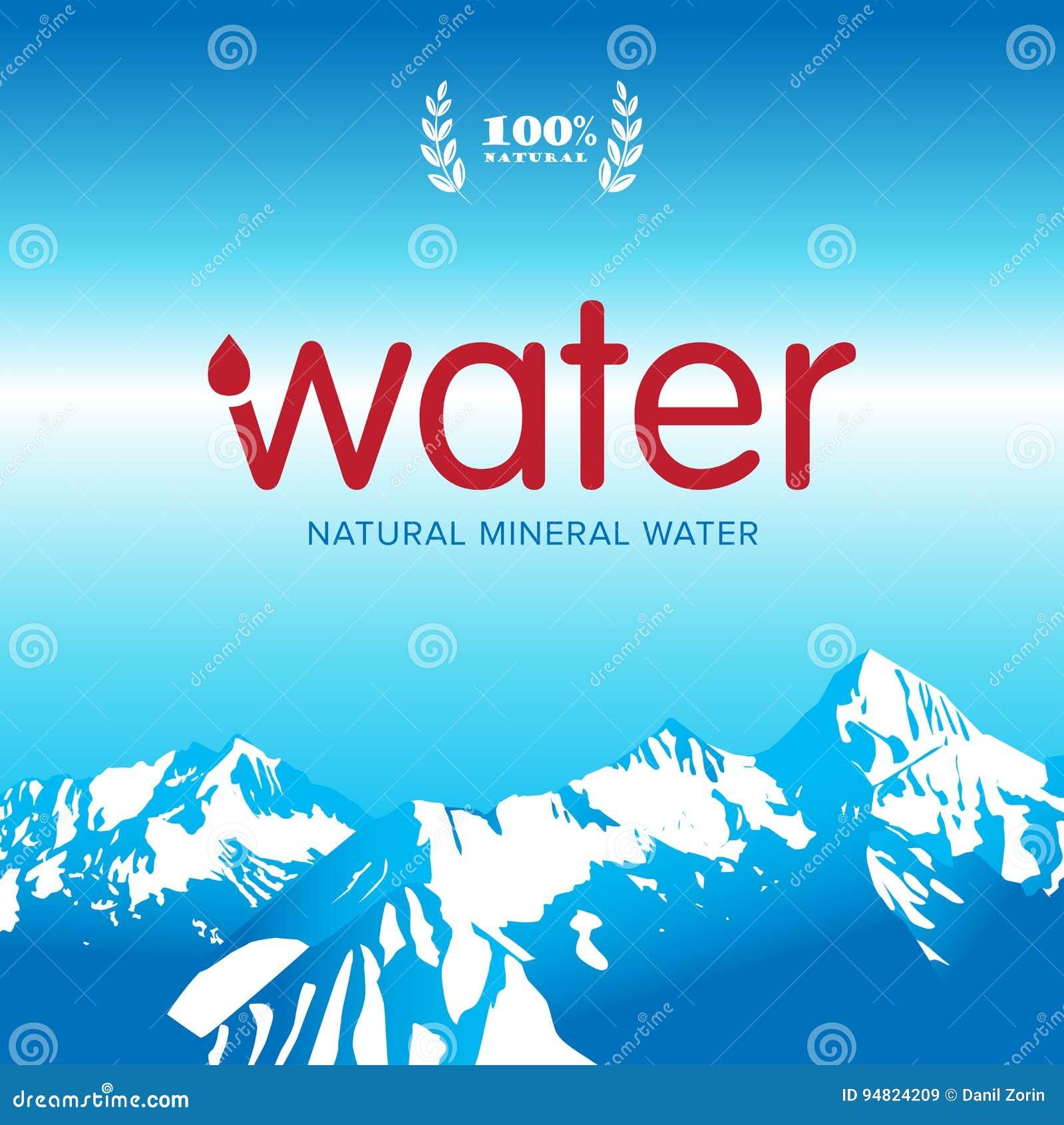 Vector Mineral Bottled Spring Water Logo Design Label Template