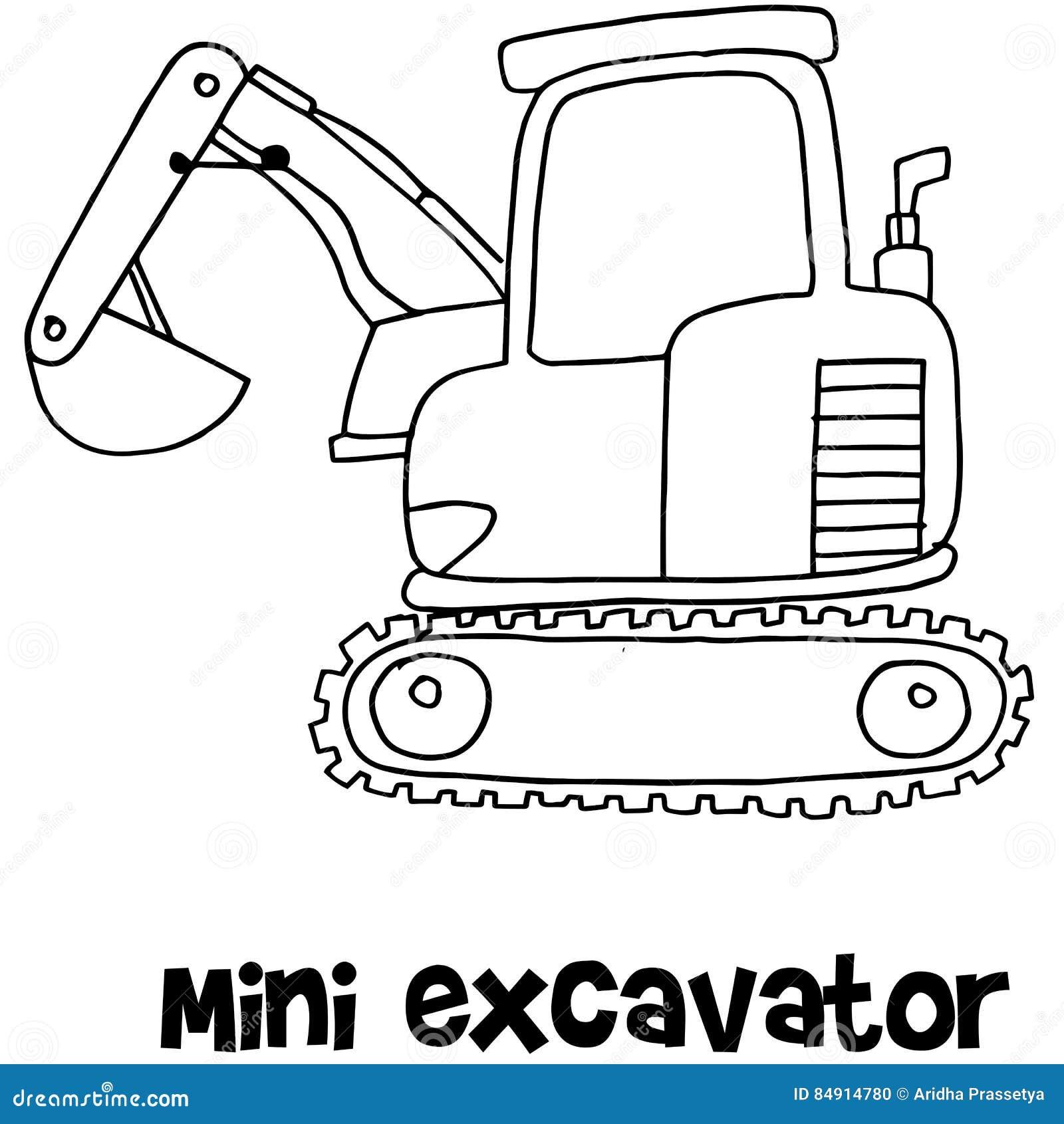 Vector Of Mini Excavator Hand Draw Stock Vector