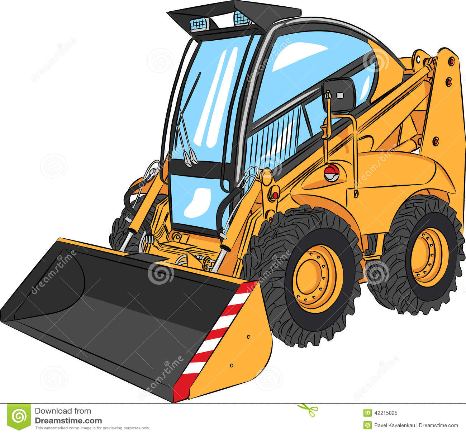 Vector Mini Excavator Stock Vector Illustration Of