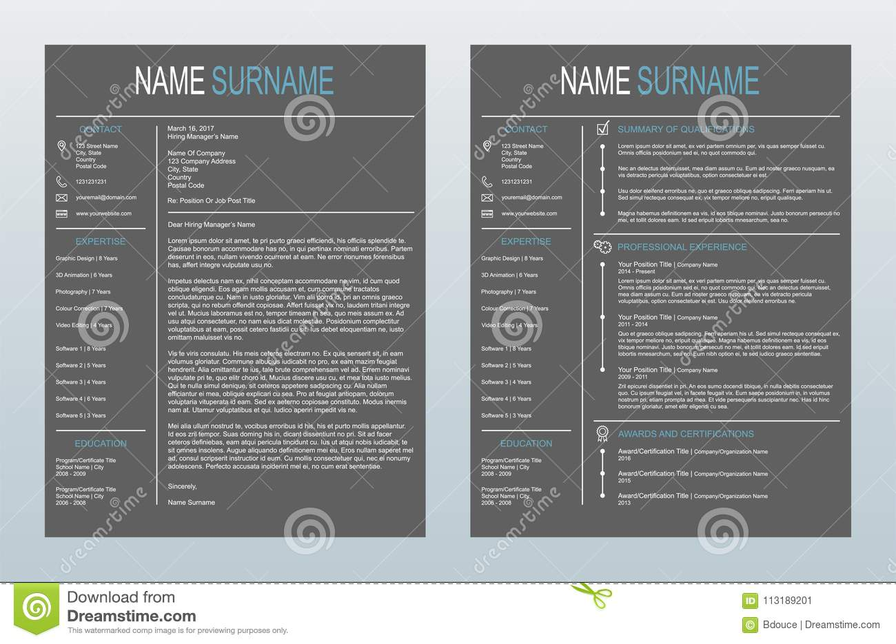 Vector Minimalist Creative Cover Letter And One Page Resume ...