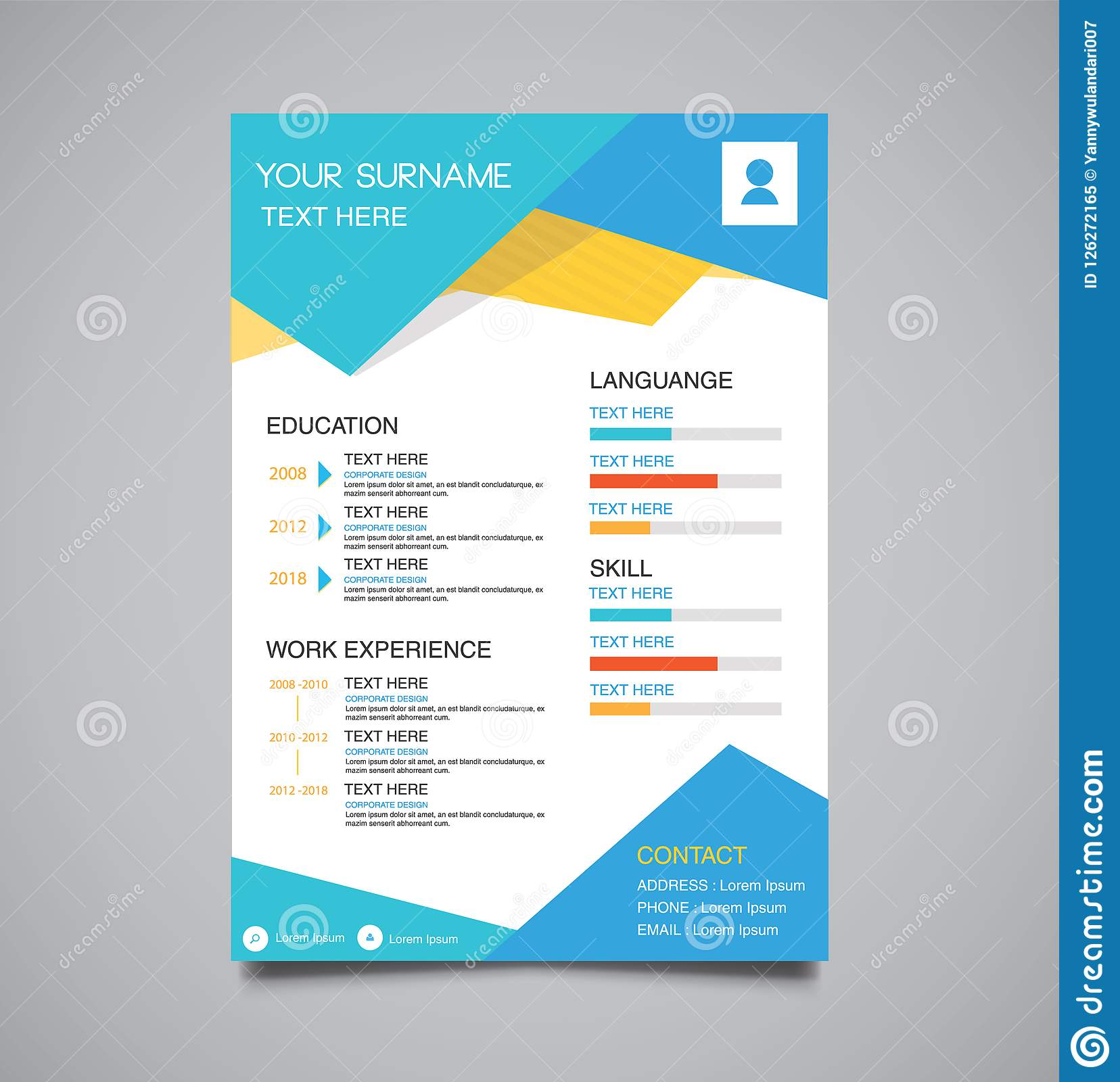 professional minimalist template curriculum vitae blue stock vector