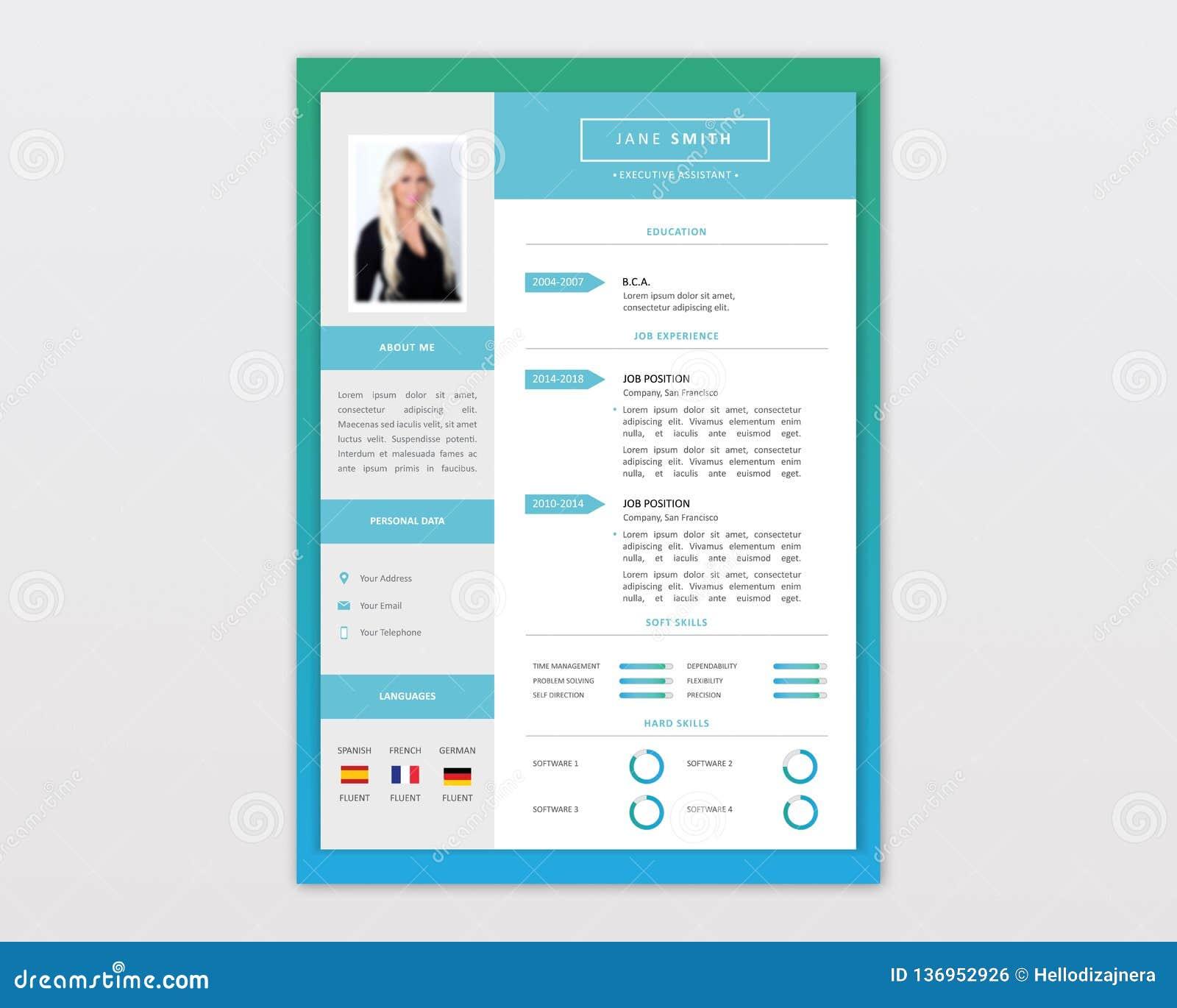 Vector Minimalist Cv Resume Template Design Stock Vector