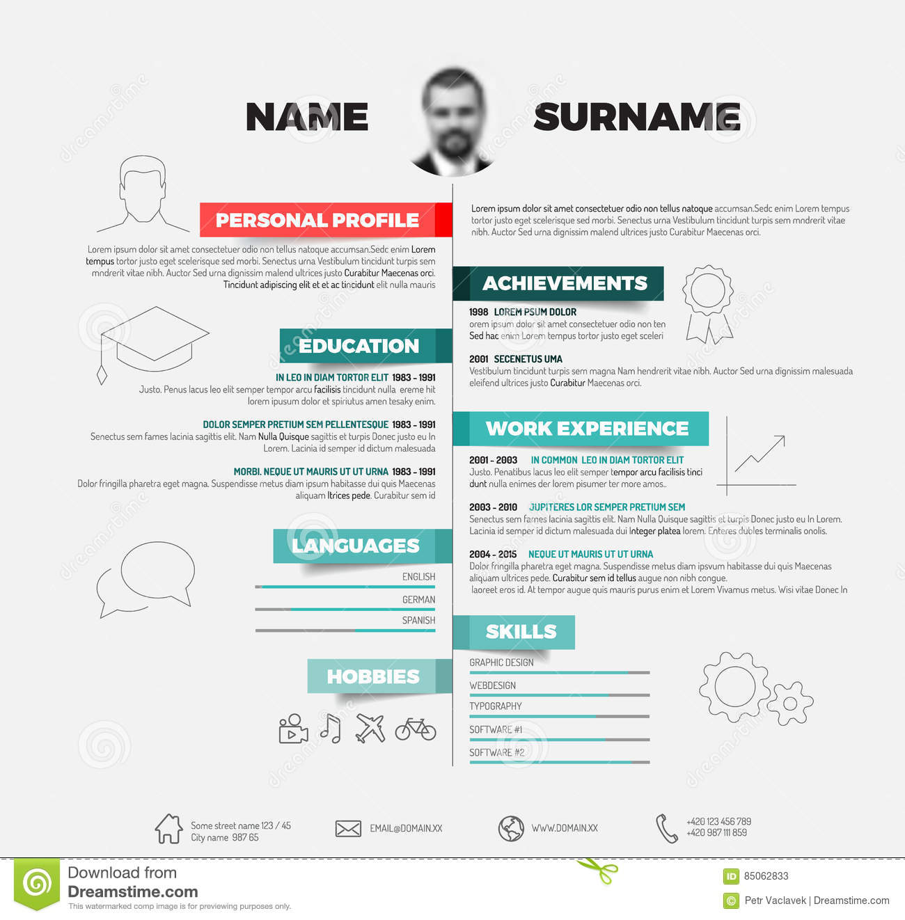 vector minimalist cv resume template stock illustration