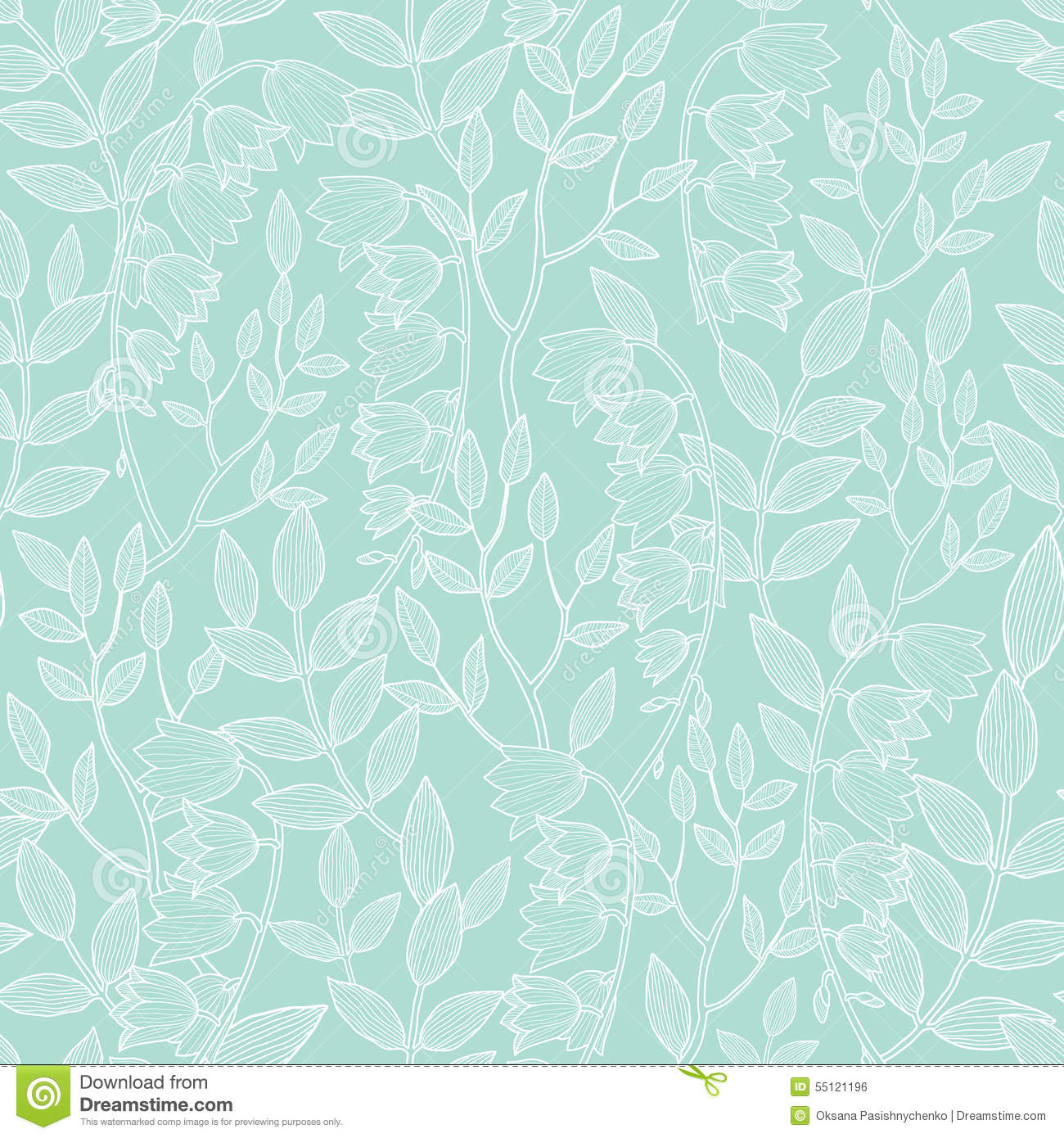 Vector Mint Green Floral Texture Seamless Pattern Stock Vector