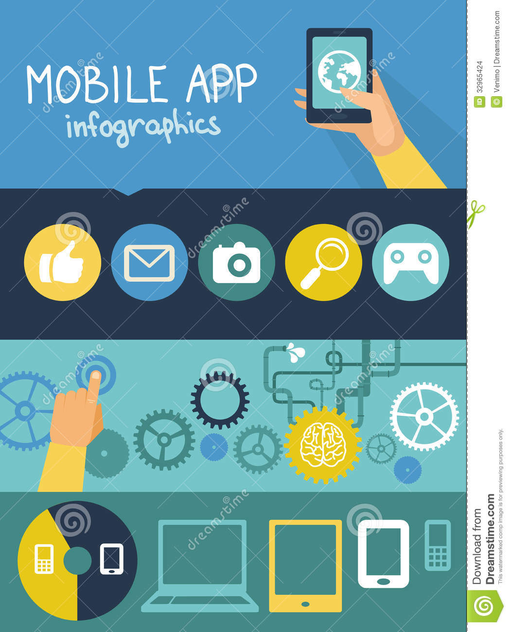 Vector Mobile App Infographics In Flat Style Stock Vector