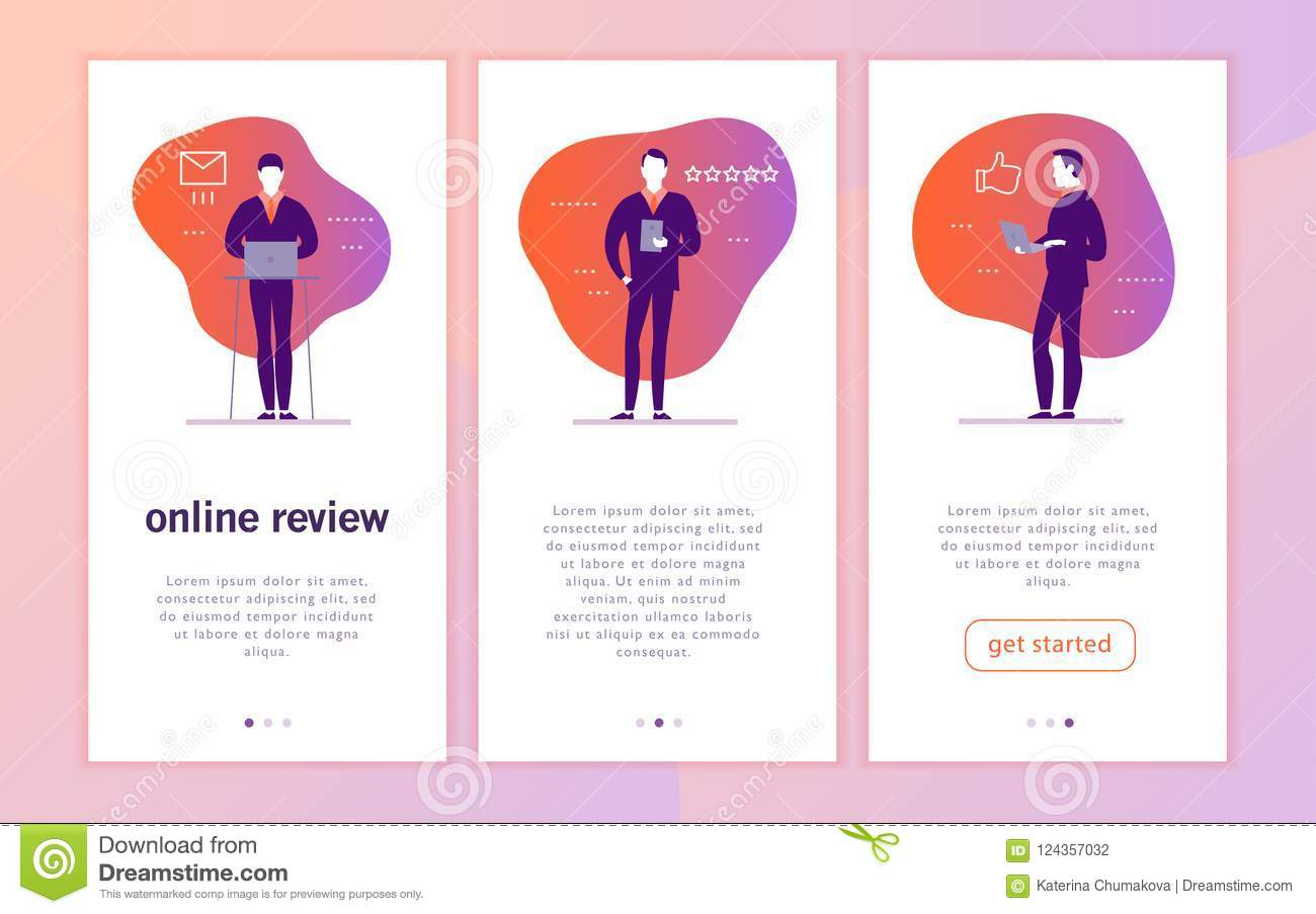 Vector Mobile App Interface Concept Design With Online Review Theme