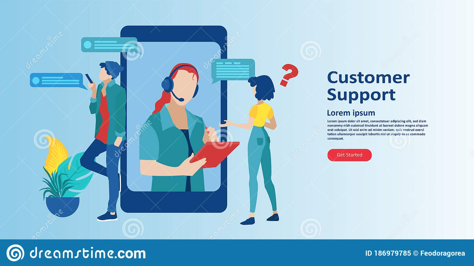 Vector Of An Mobile Service Operator With Headset Answering Client Questions Stock Vector Illustration Of Cellphone Communication 186979785