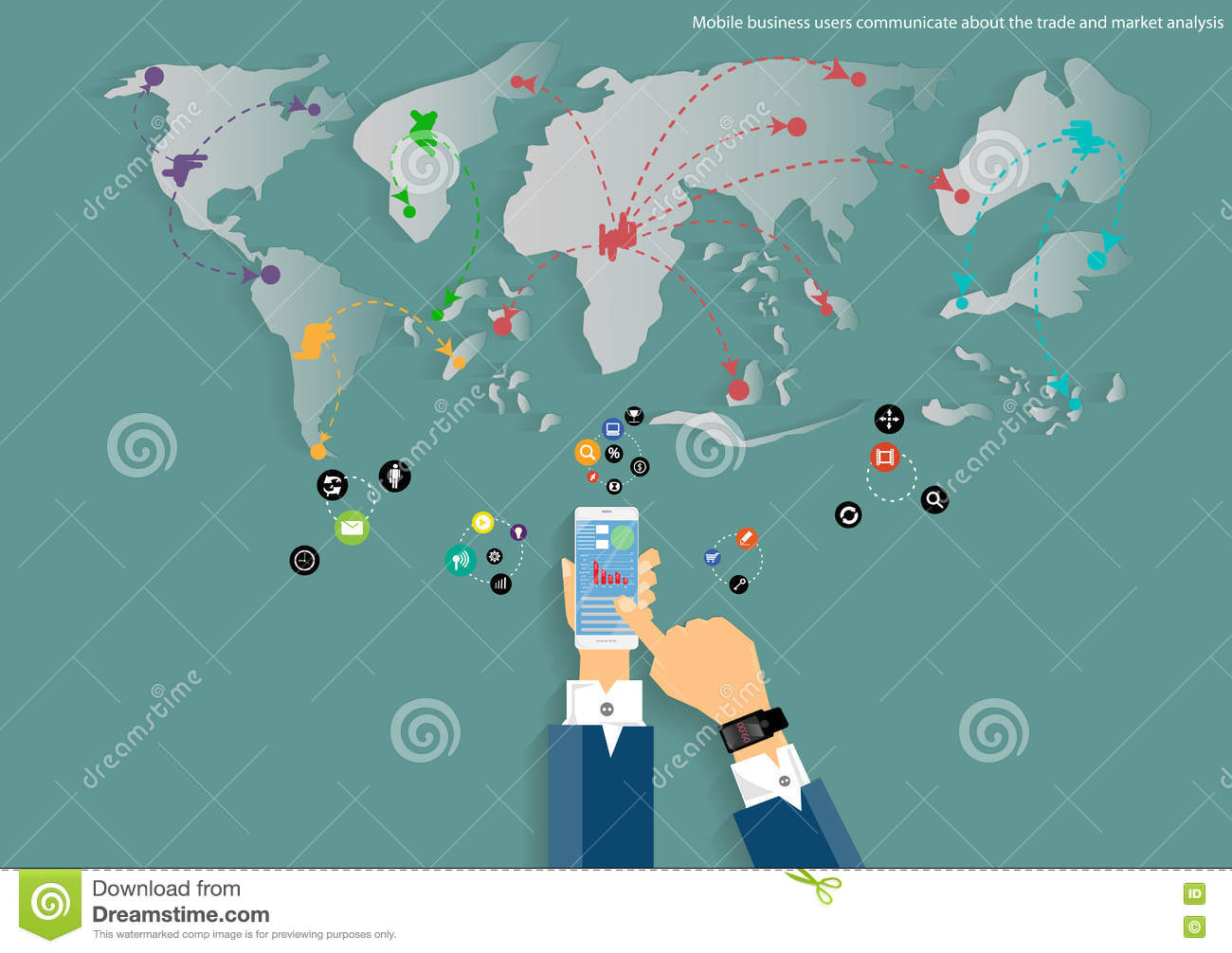 Vector mobile and travel the world map of business communication download comp gumiabroncs Images