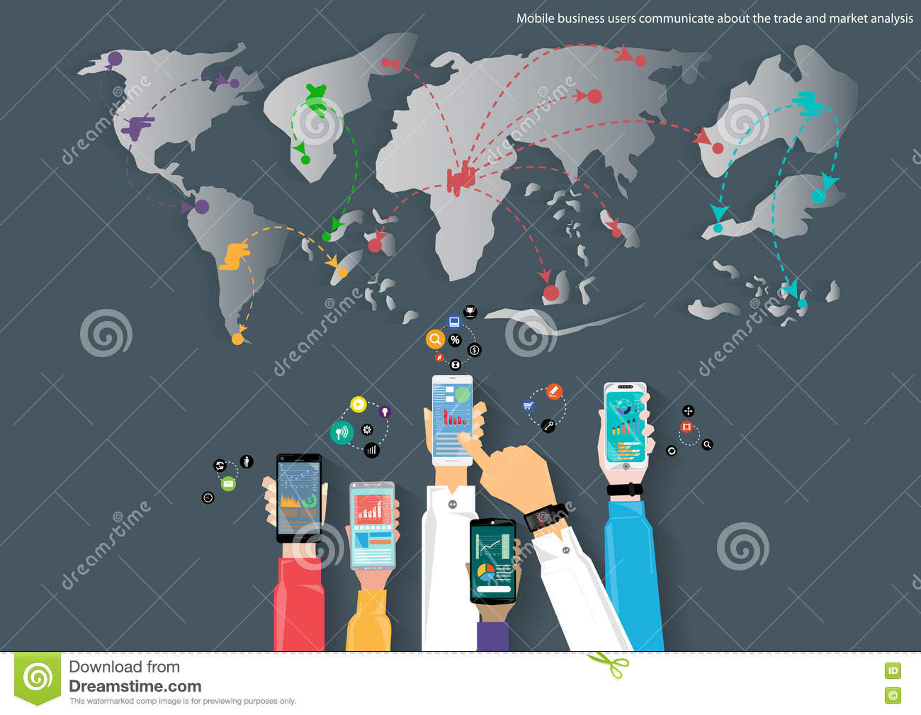 Vector mobile and travel the world map of business communication vector mobile and travel the world map of business communication trading marketing and global business icon flat design gumiabroncs Choice Image