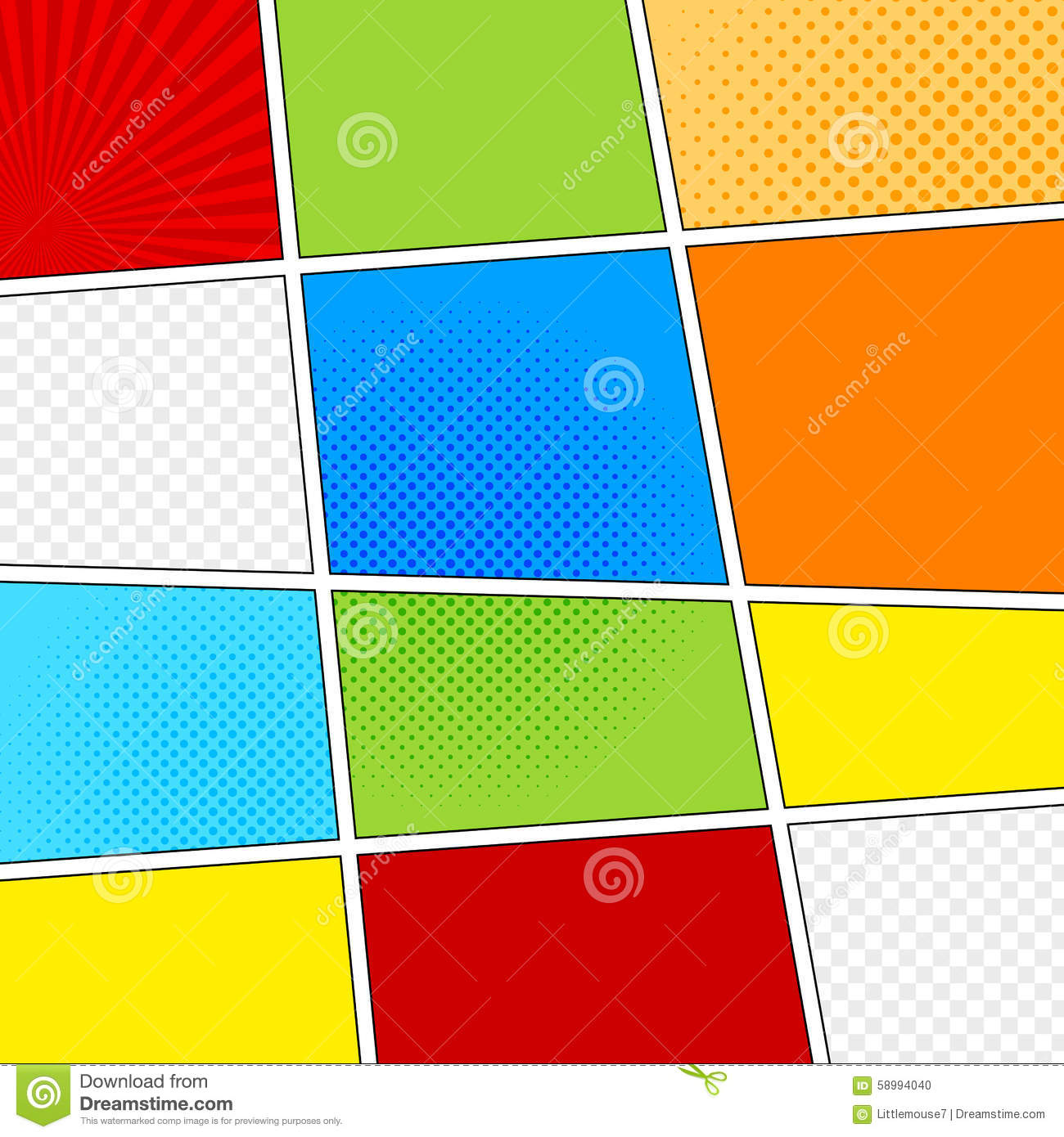 Vector Mock Up Of A Typical Comic Book Page Stock Vector