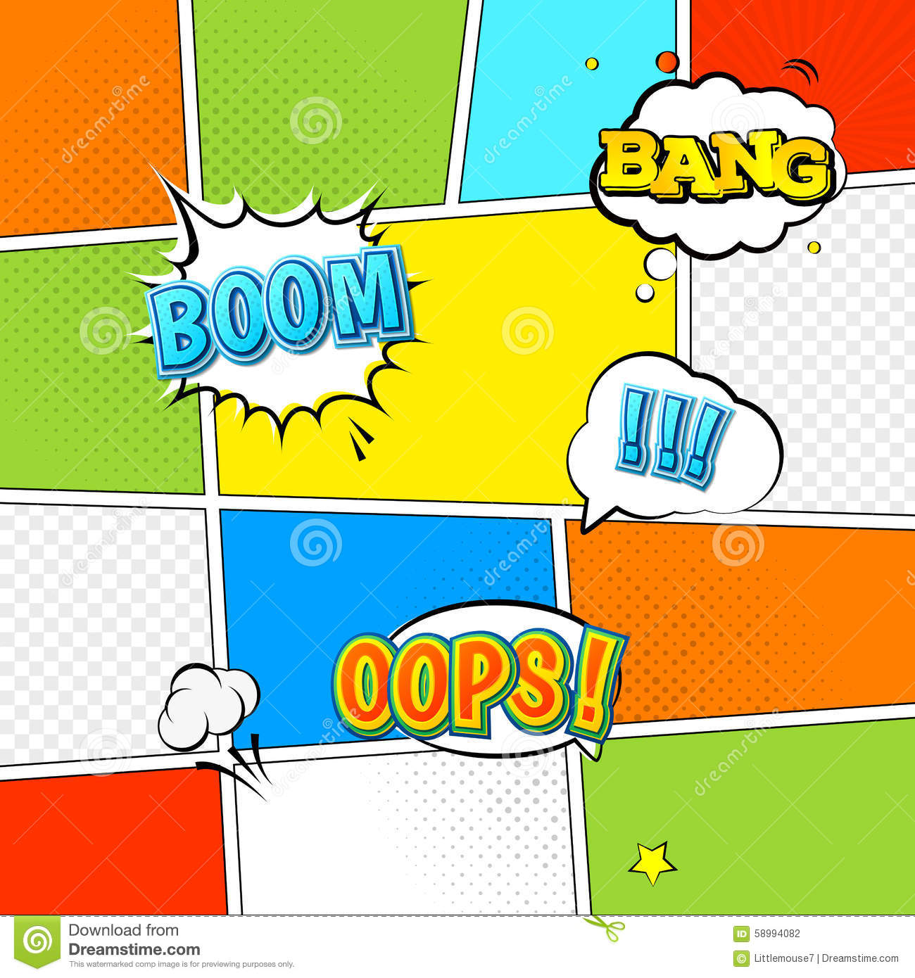 vector mock-up of a typical comic book page stock vector, Modern powerpoint