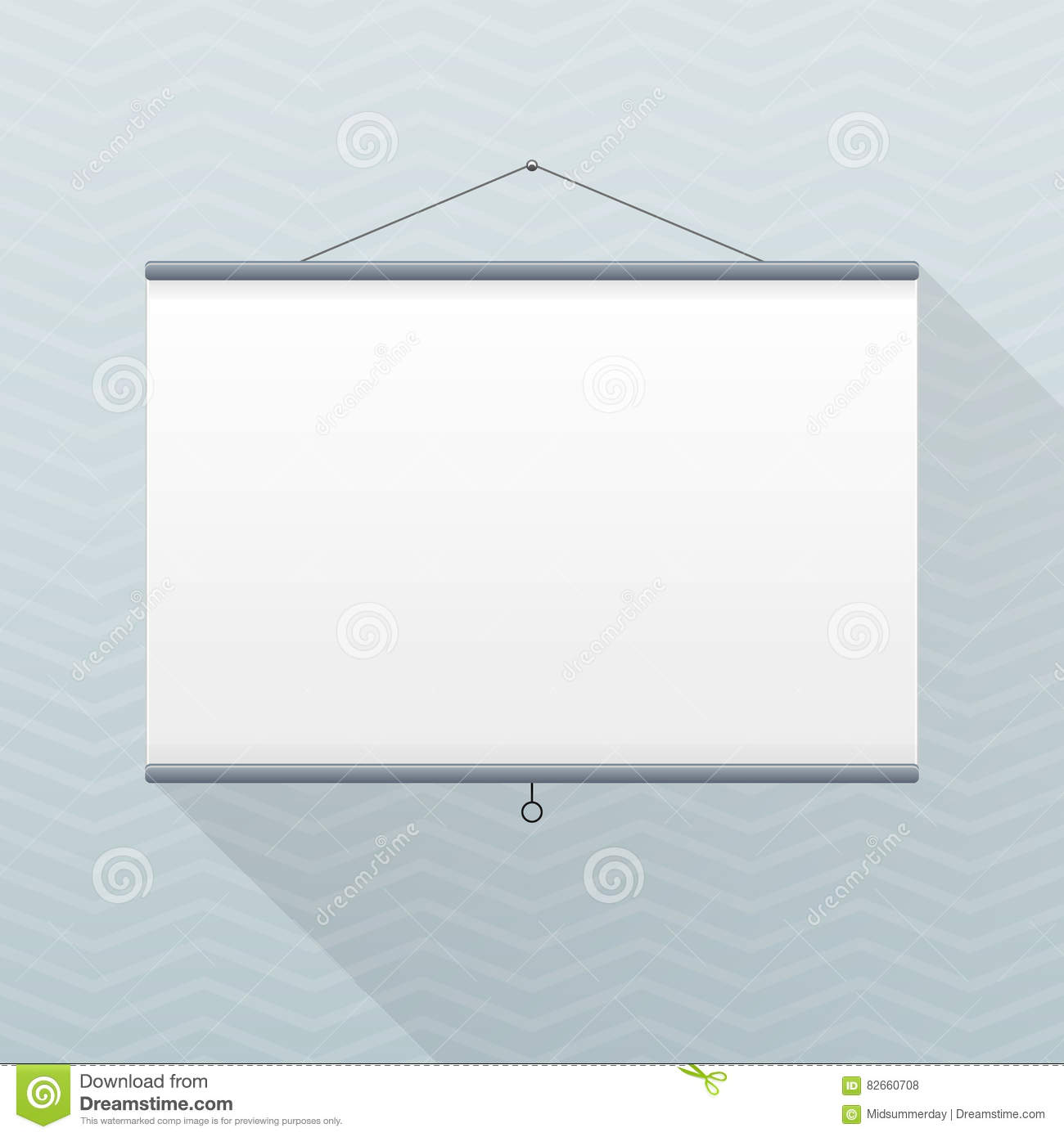 Vector Mockup Projector Screen Hanging On A Gray Office Wall Empty