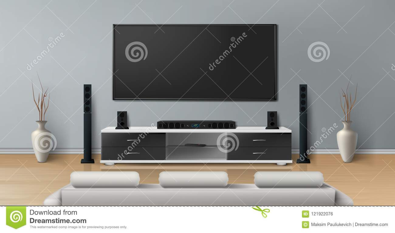 Vector Realistic Mockup Of Living Room With Big Plasma Tv On Flat Gray  Wall, Black Stand With Modern Home Theater System, White Sofa For Watching  Movies.