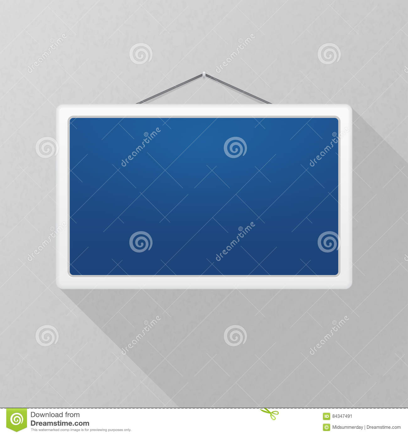Vector mockup. Simple blue sign with long shadow hanging on a gray office wall. White rectangular frame. Empty blank.