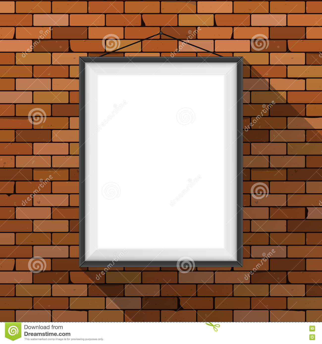 Vector mockup. White poster with black frame hanging on a dark red brick wall. Empty blank. Grunge brickwork background